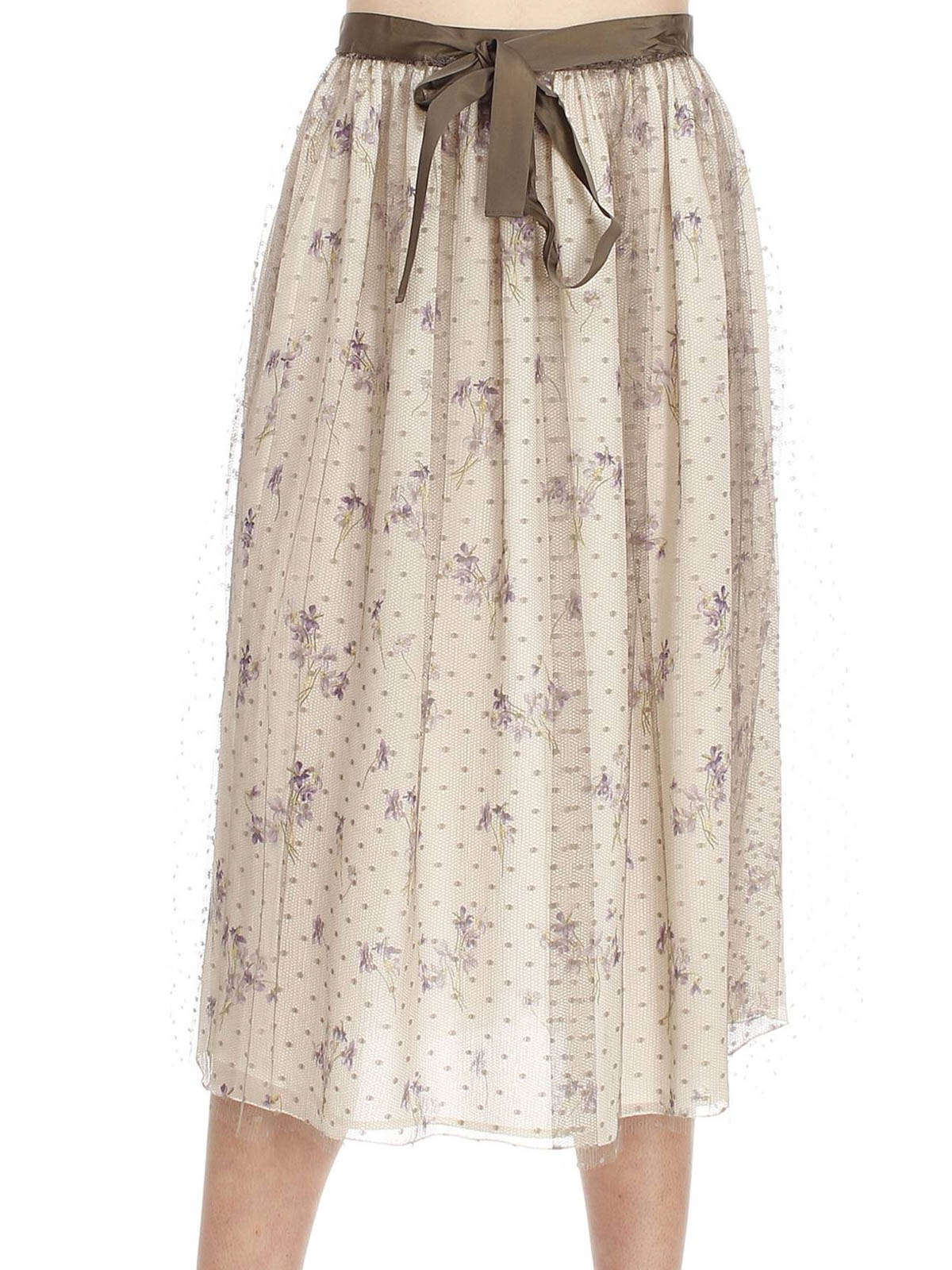 floral print tulle midi skirt by valentino knee