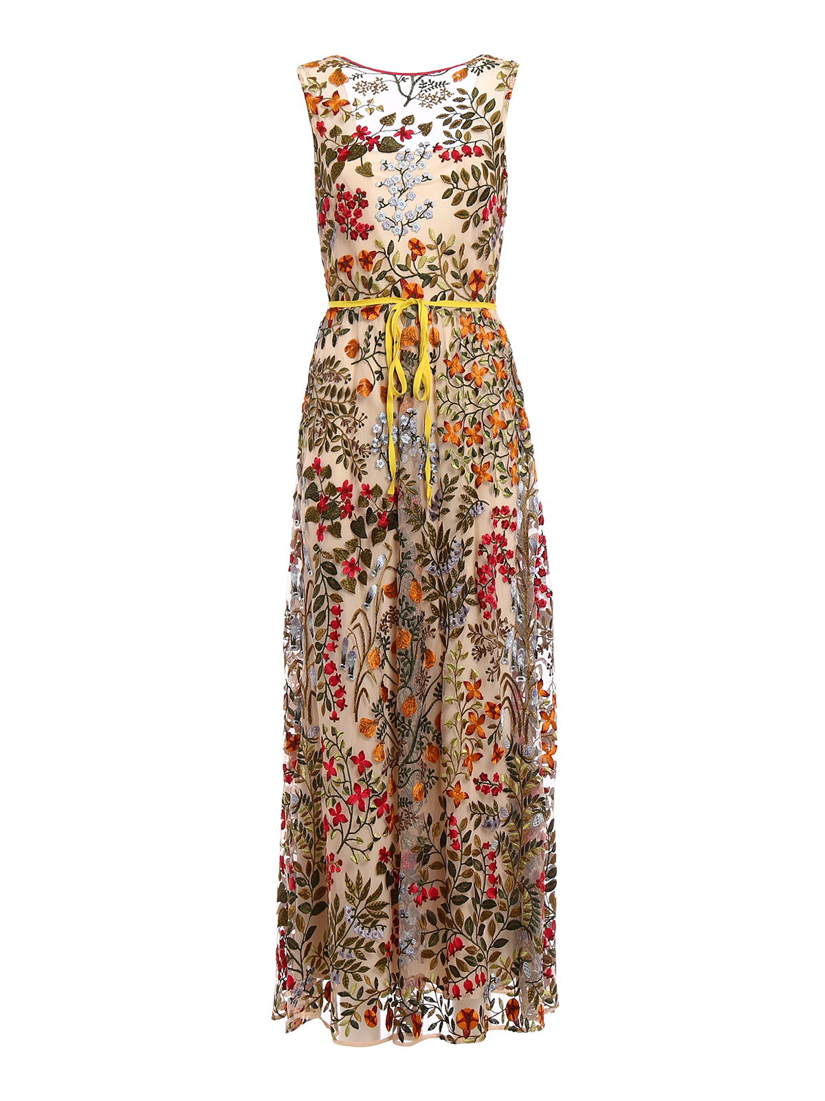 Multicolor Embroidered Tulle Dress In Multicolour