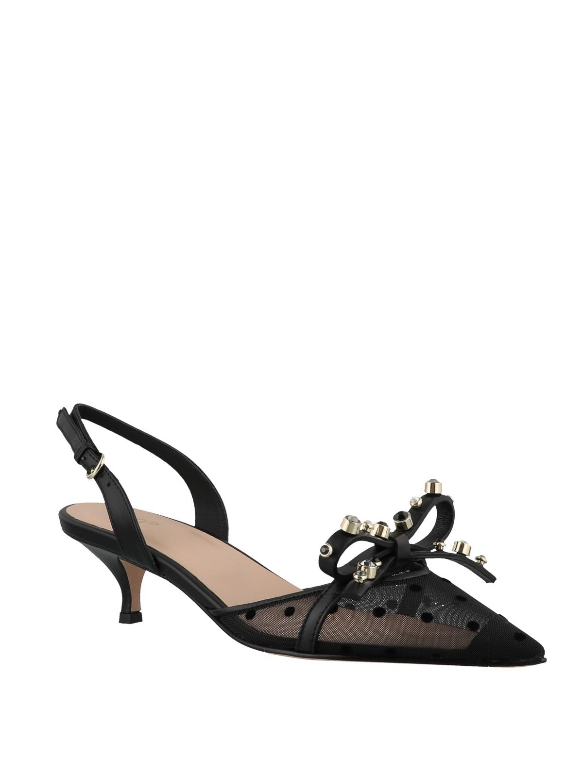 fa6934e04aedb VALENTINO RED: court shoes online - Black polka dot slingbacks