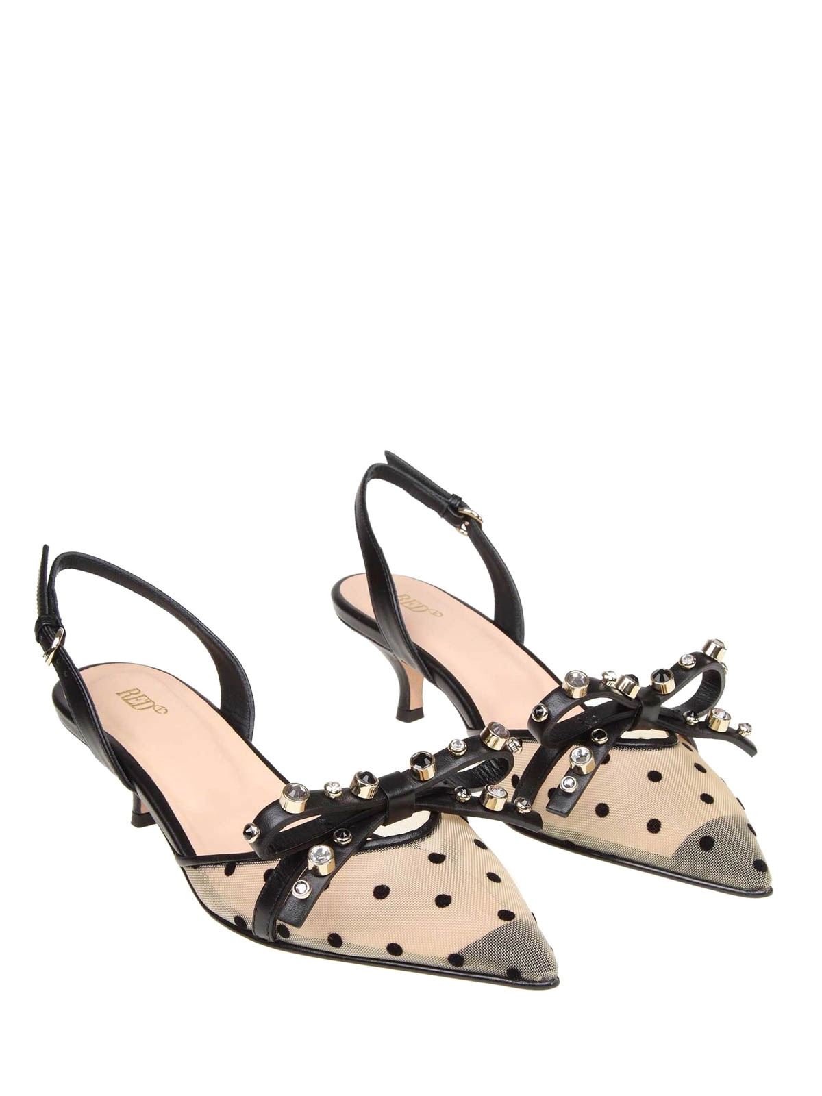 7a94ce8a685 VALENTINO RED  court shoes online - Nude and black polka dot leather  slingbacks