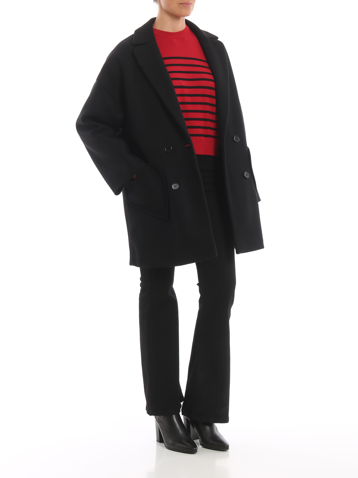 online store 090af 90cd3 Valentino Red - Cappotto oversize nero in lana e cashmere ...