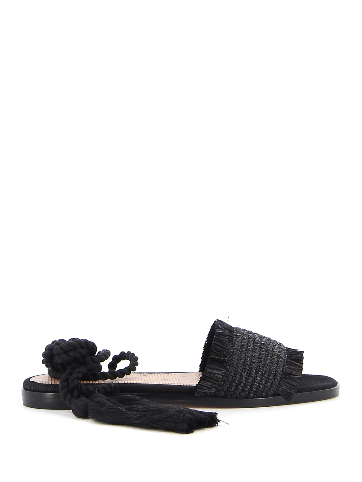 Red Valentino LEATHER AND RAFFIA SANDALS