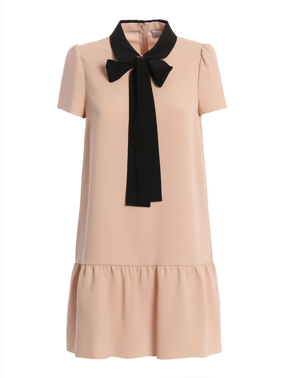 Bow and flounce detail crepe dress by valentino red for Valentino short wedding dress