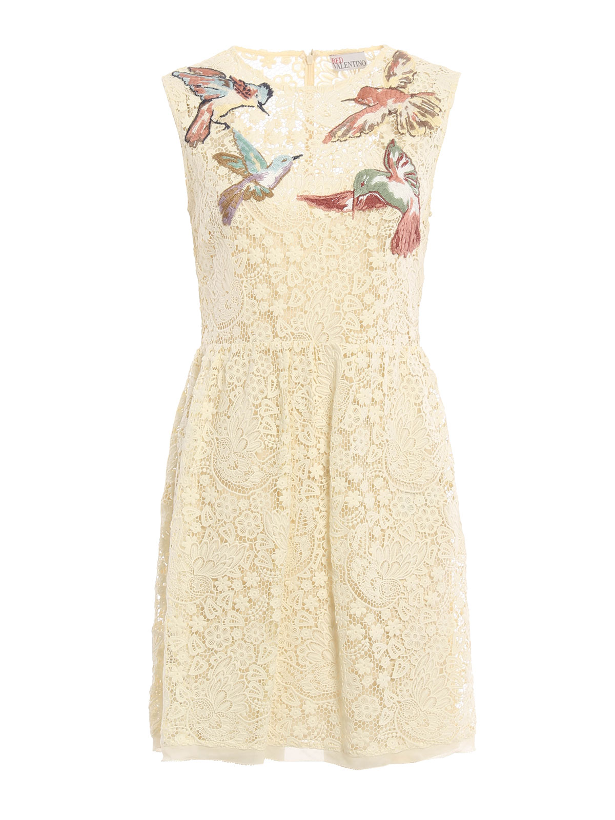 Floral macram embroidered dress by valentino red short for Valentino short wedding dress