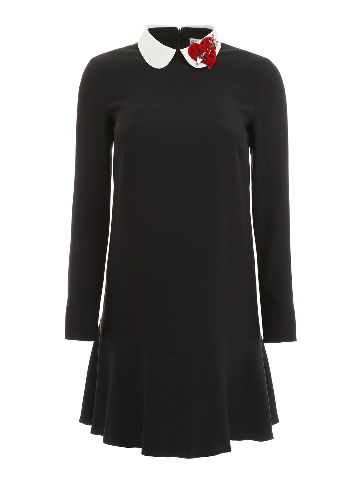Valentino Red - Heart patch detail preppy black dress