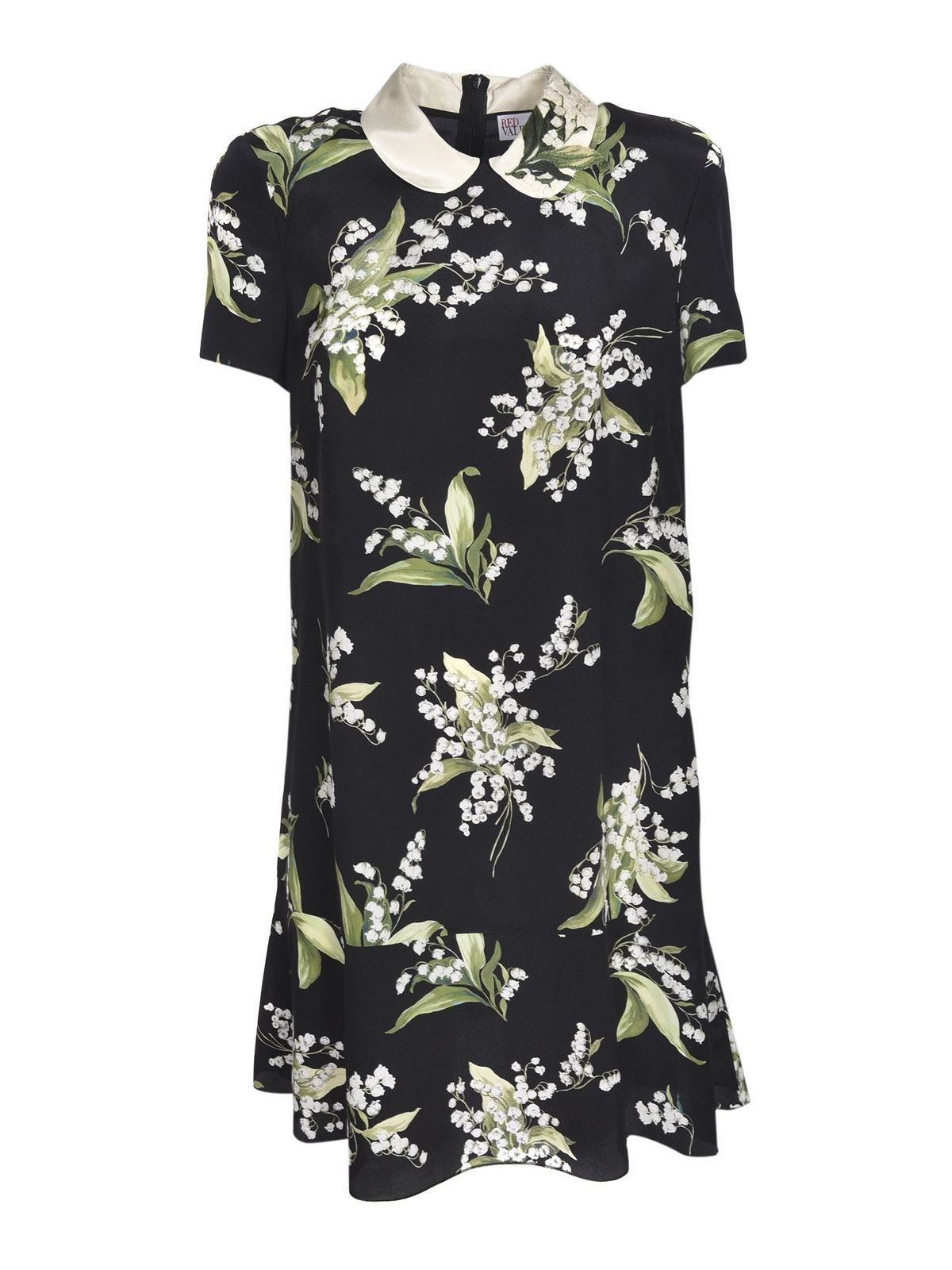 Red Valentino MAY LILY PRINTED DRESS IN BLACK