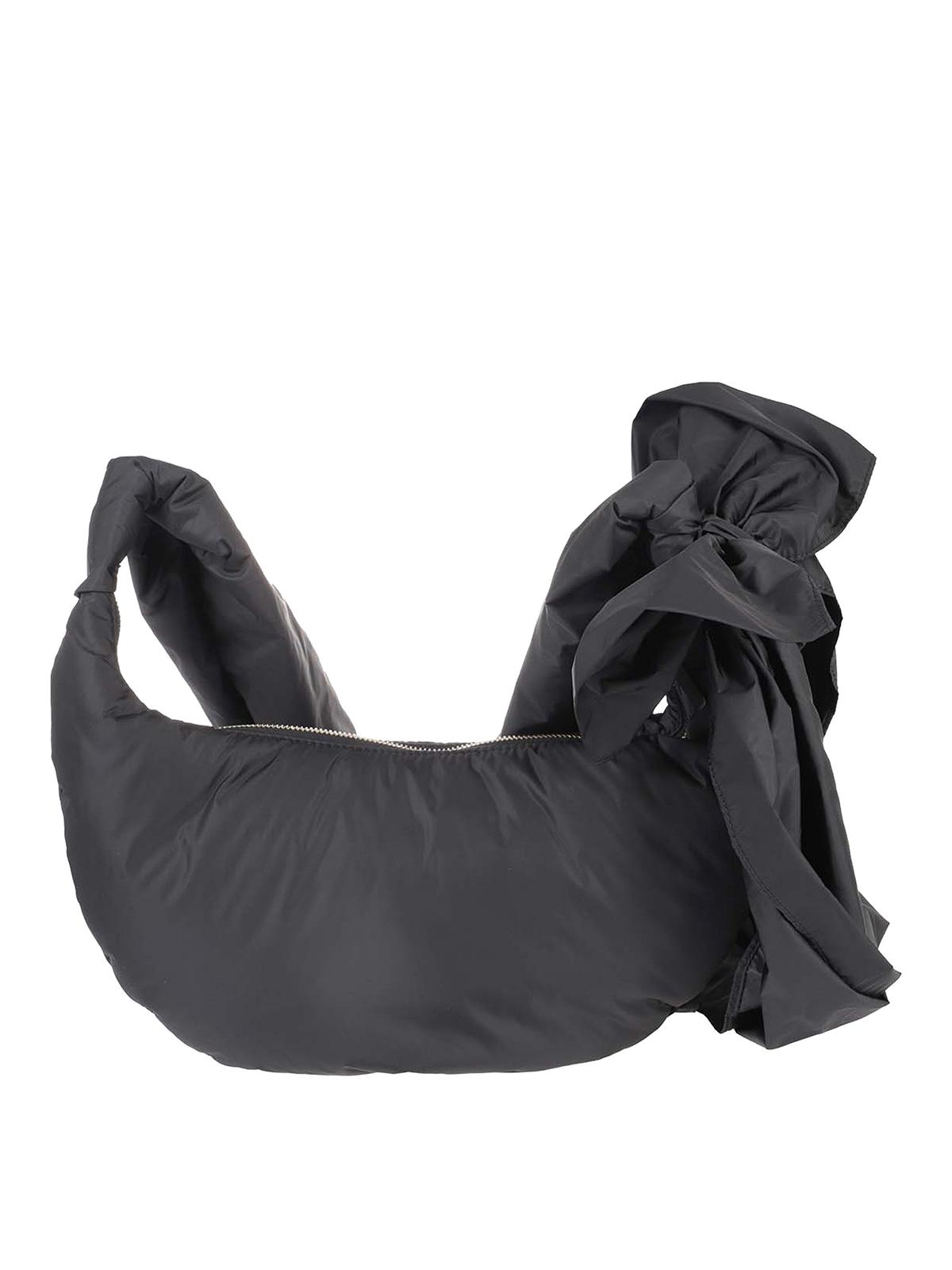 Red Valentino Bow Detail Nylon Hobo Bag In Black