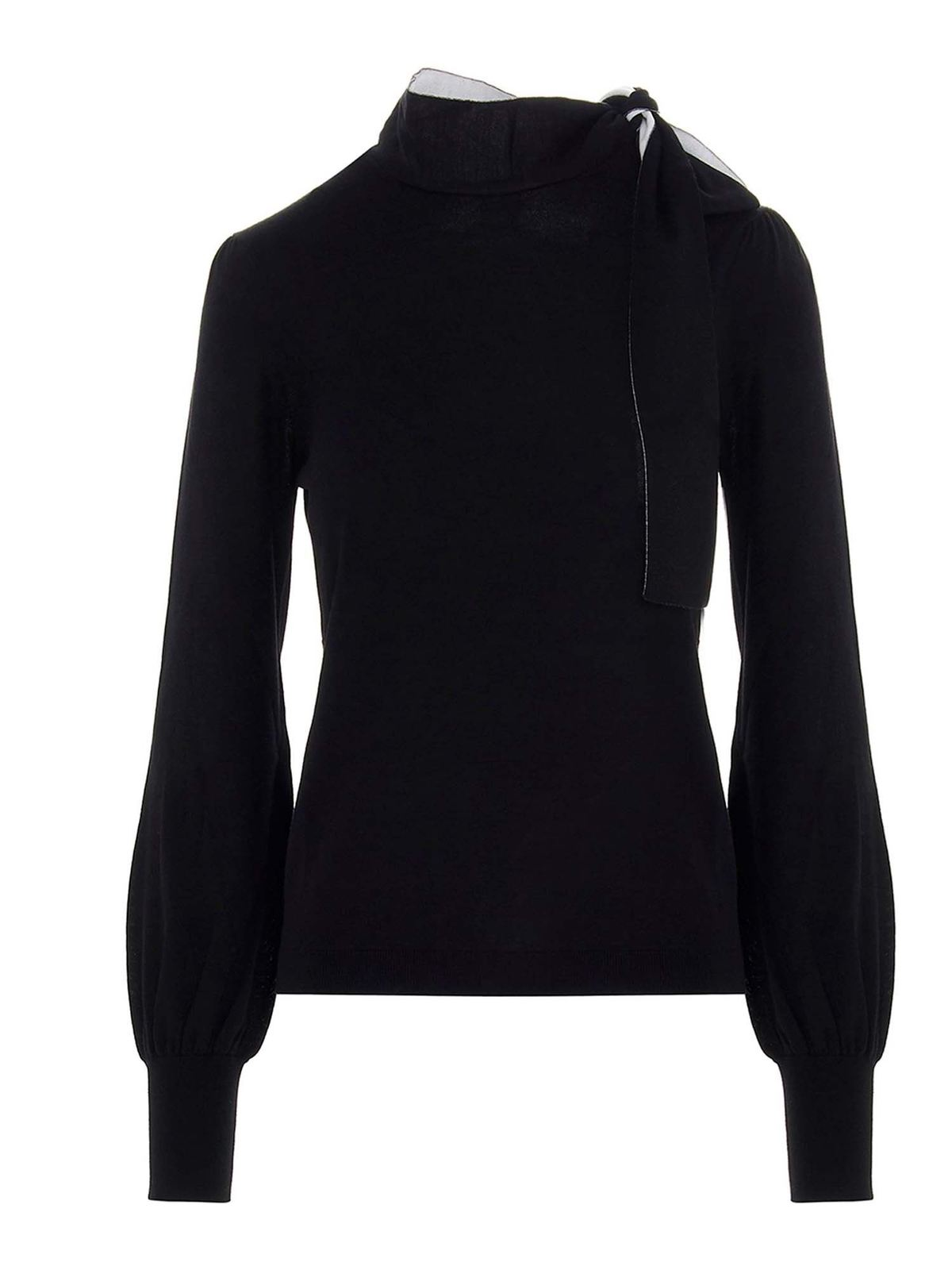 RED VALENTINO BOW PULLOVER IN BLACK