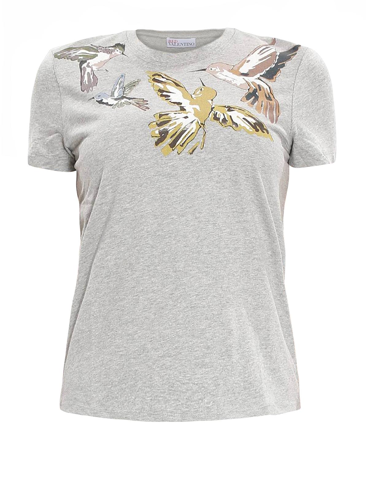 Hummingbird print t shirt by valentino red t shirts ikrix for Red valentino t shirt