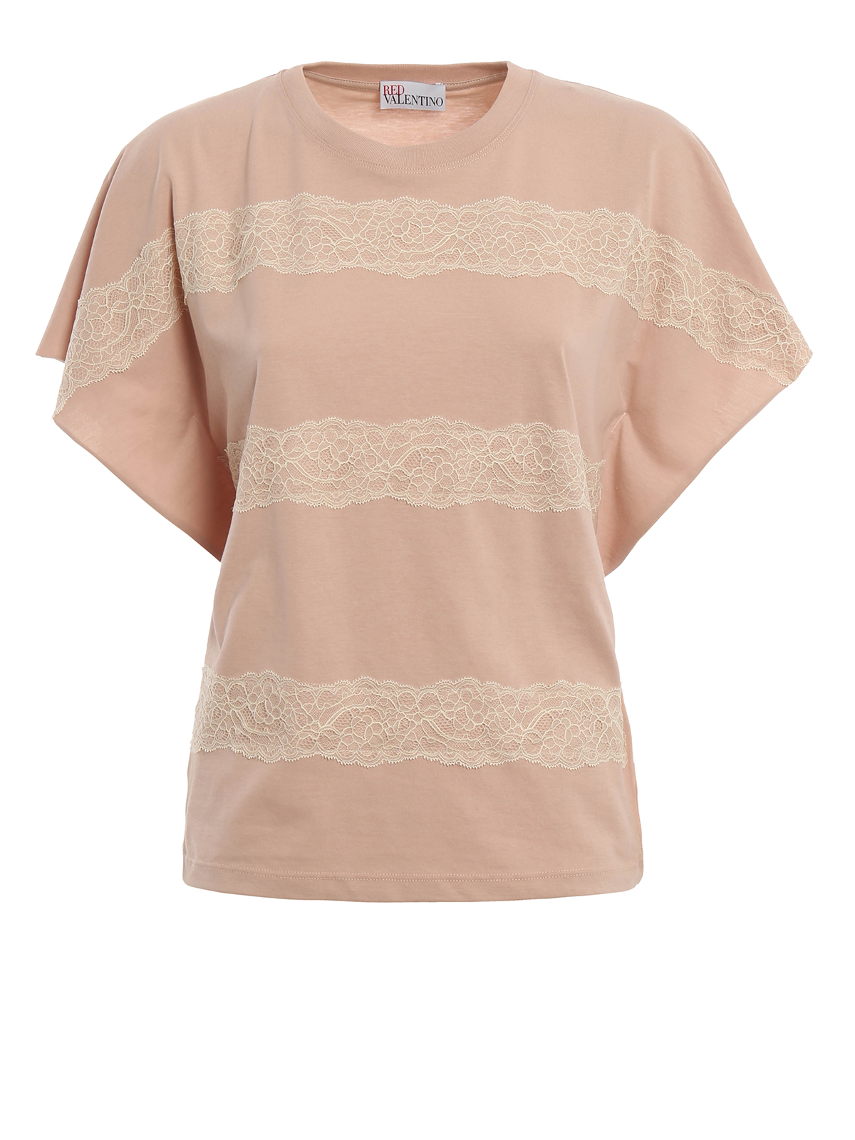 Lace ribbon detail t shirt by valentino red t shirts ikrix for Red valentino t shirt