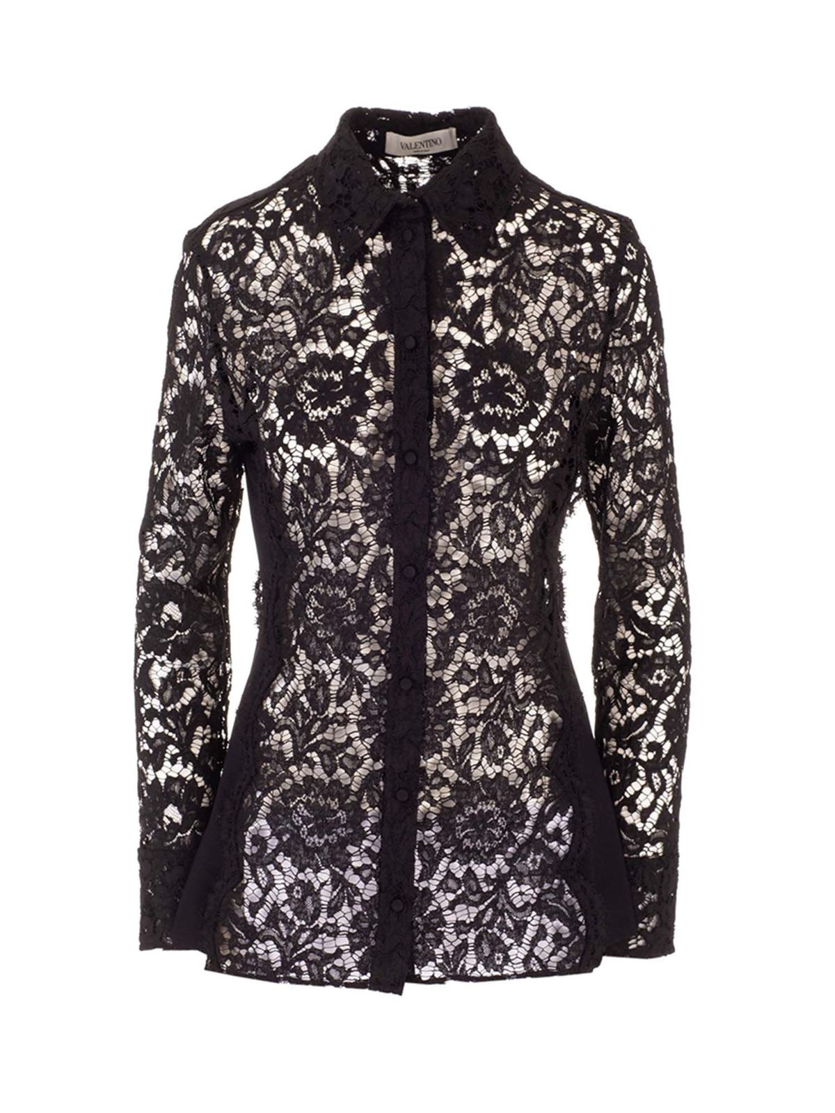 Valentino LACE SHIRT IN BLACK