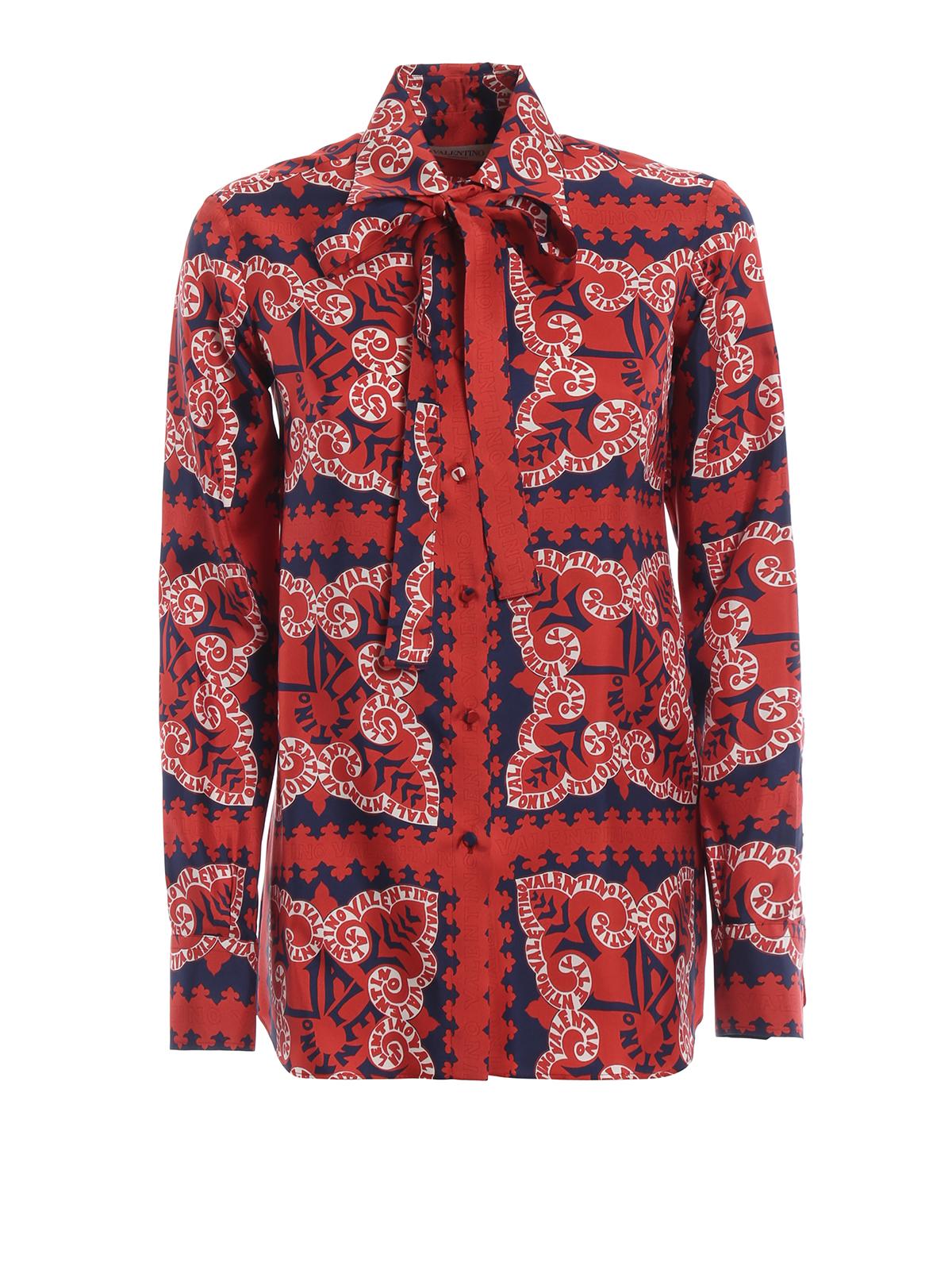 the latest 6e8e6 8ee46 Valentino - Camicia rossa Bandana in seta - camicie ...