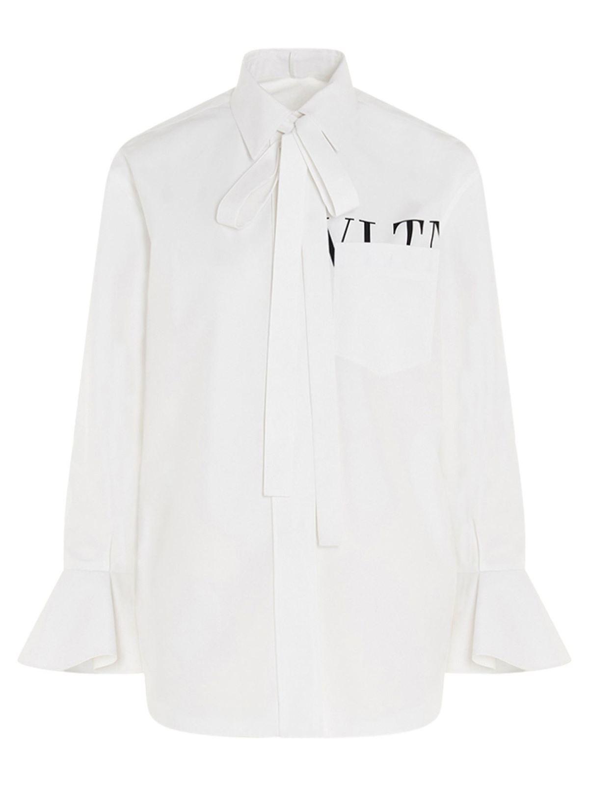 Valentino VLTN LOGO BOW SHIRT IN WHITE