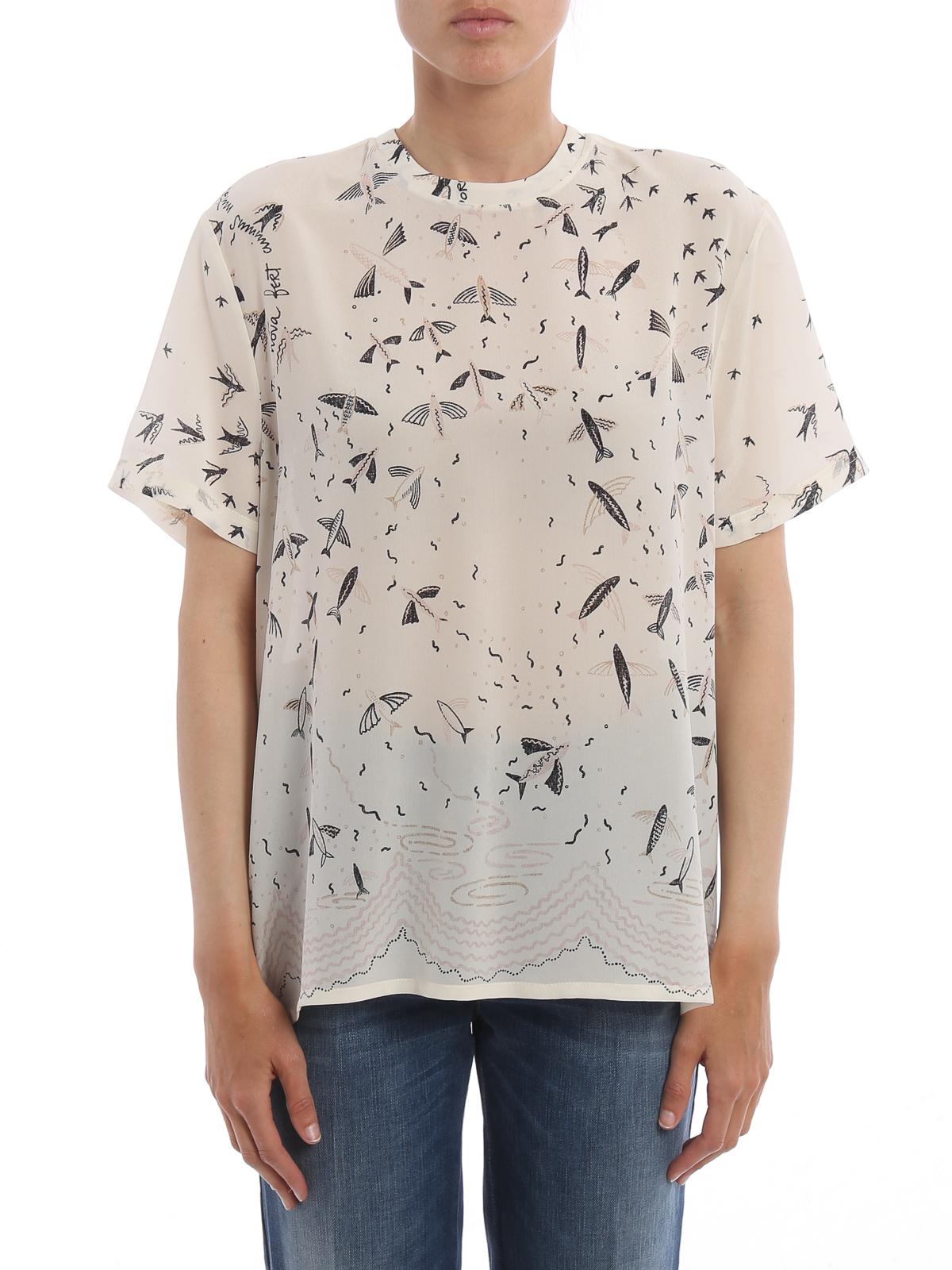 Exclusive Print Silk T Shirt By Valentino T Shirts