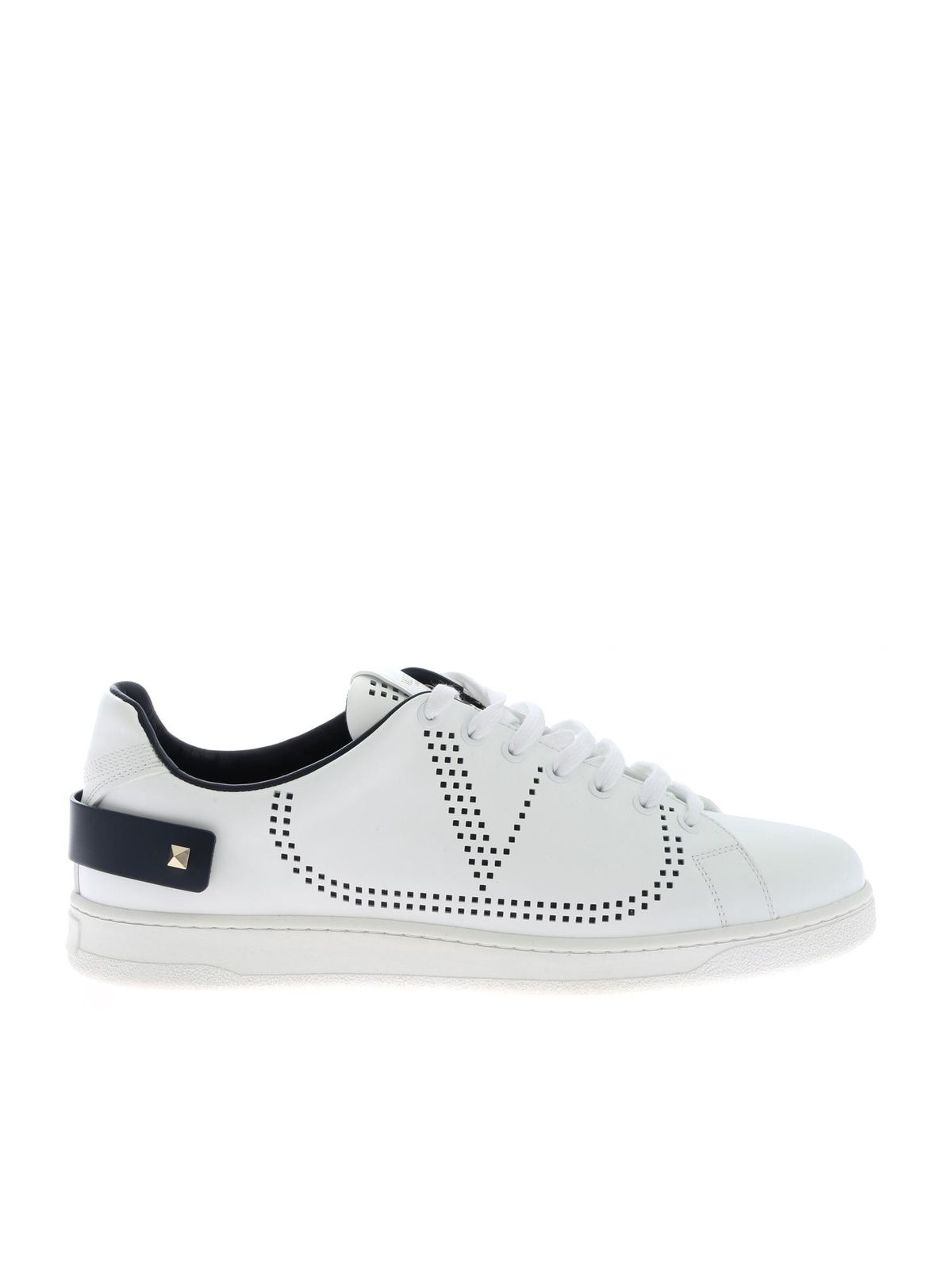 Valentino Sneakers BACKNET SNEAKERS WITH PIERCED LOGO