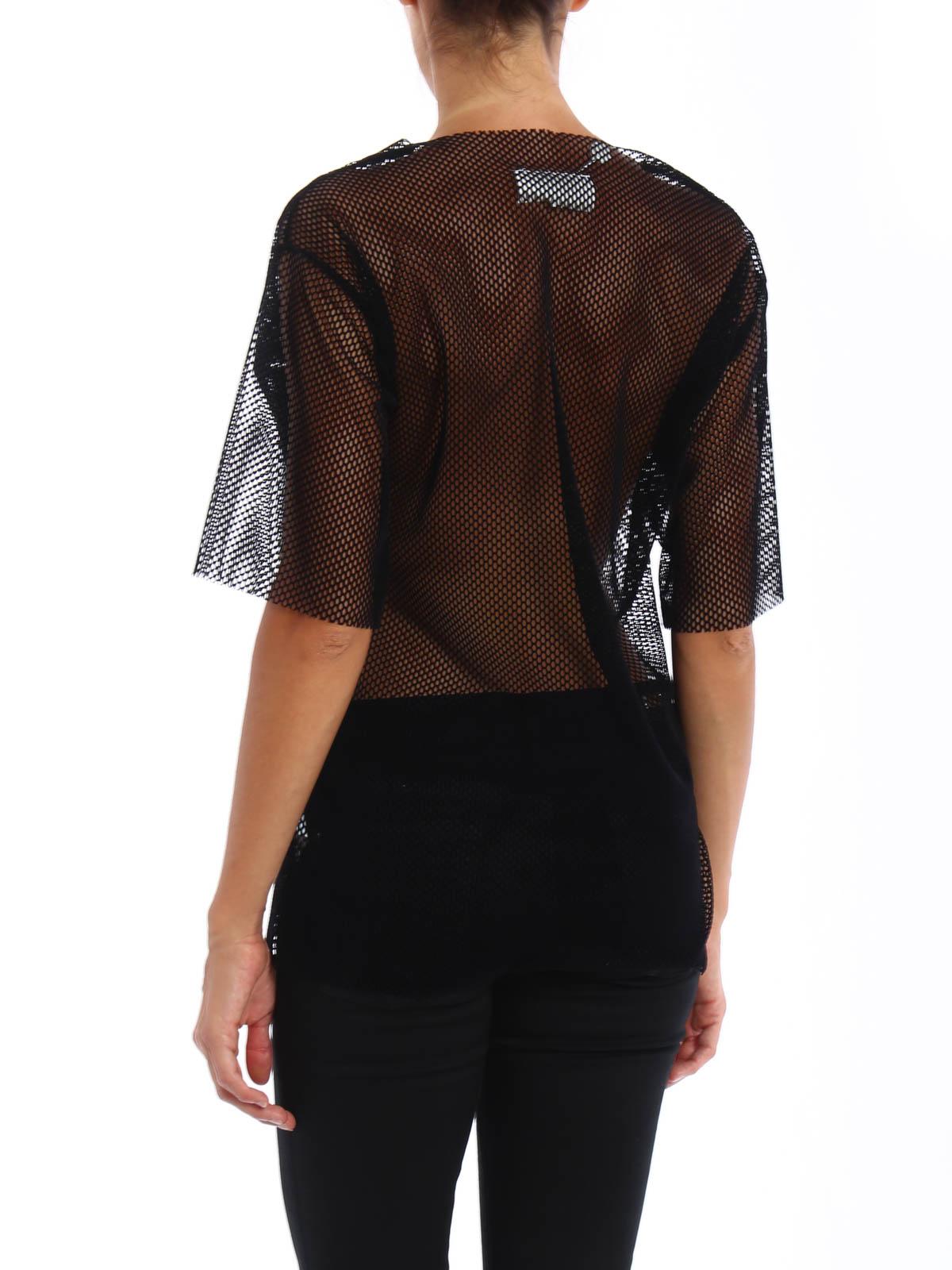 Velvet mesh T-shirt shop online: MM6 Maison Margiela