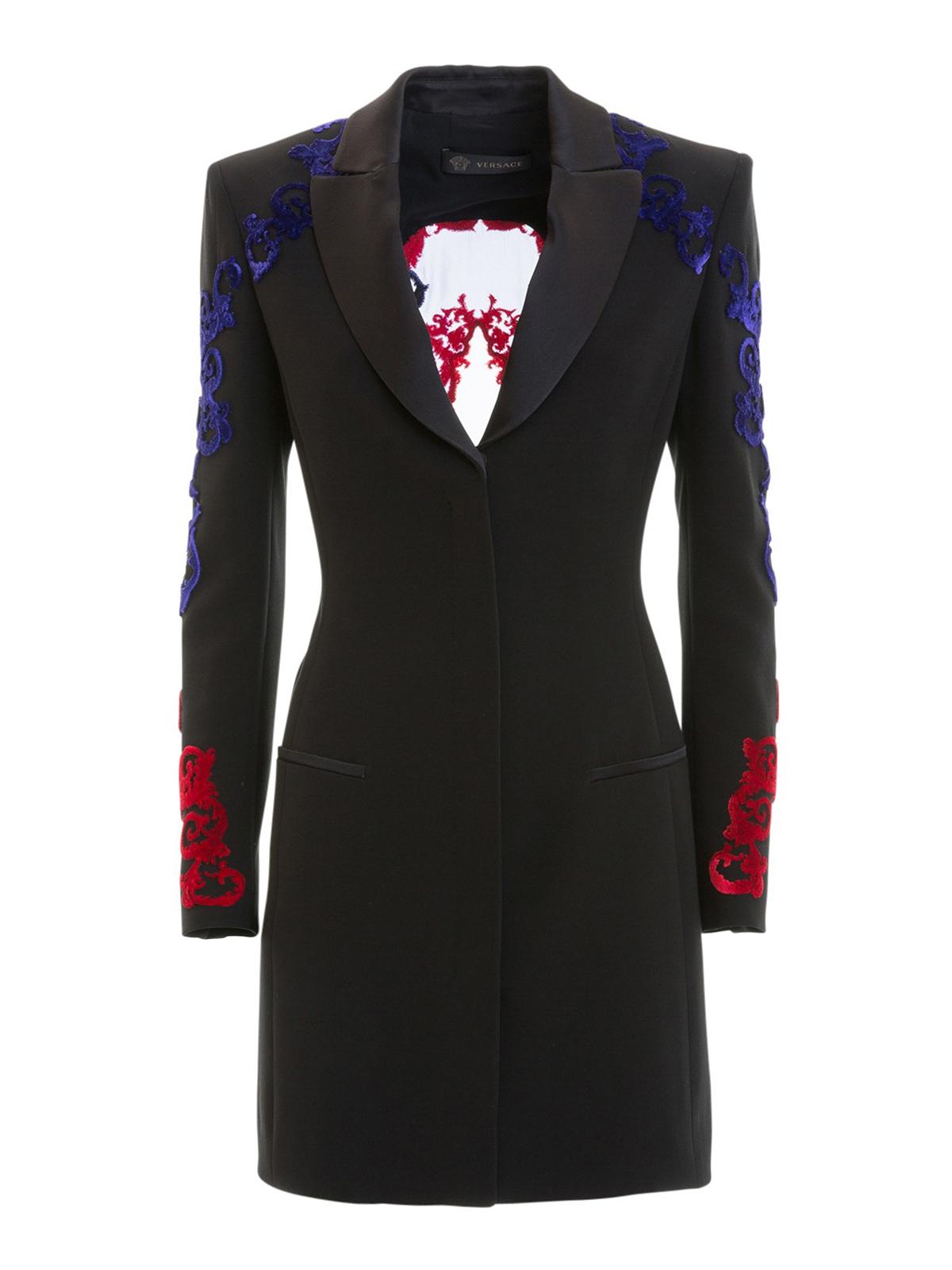 f3939f3a0c Versace - Blazer lungo con decori vellutati bicolori - giacche ...