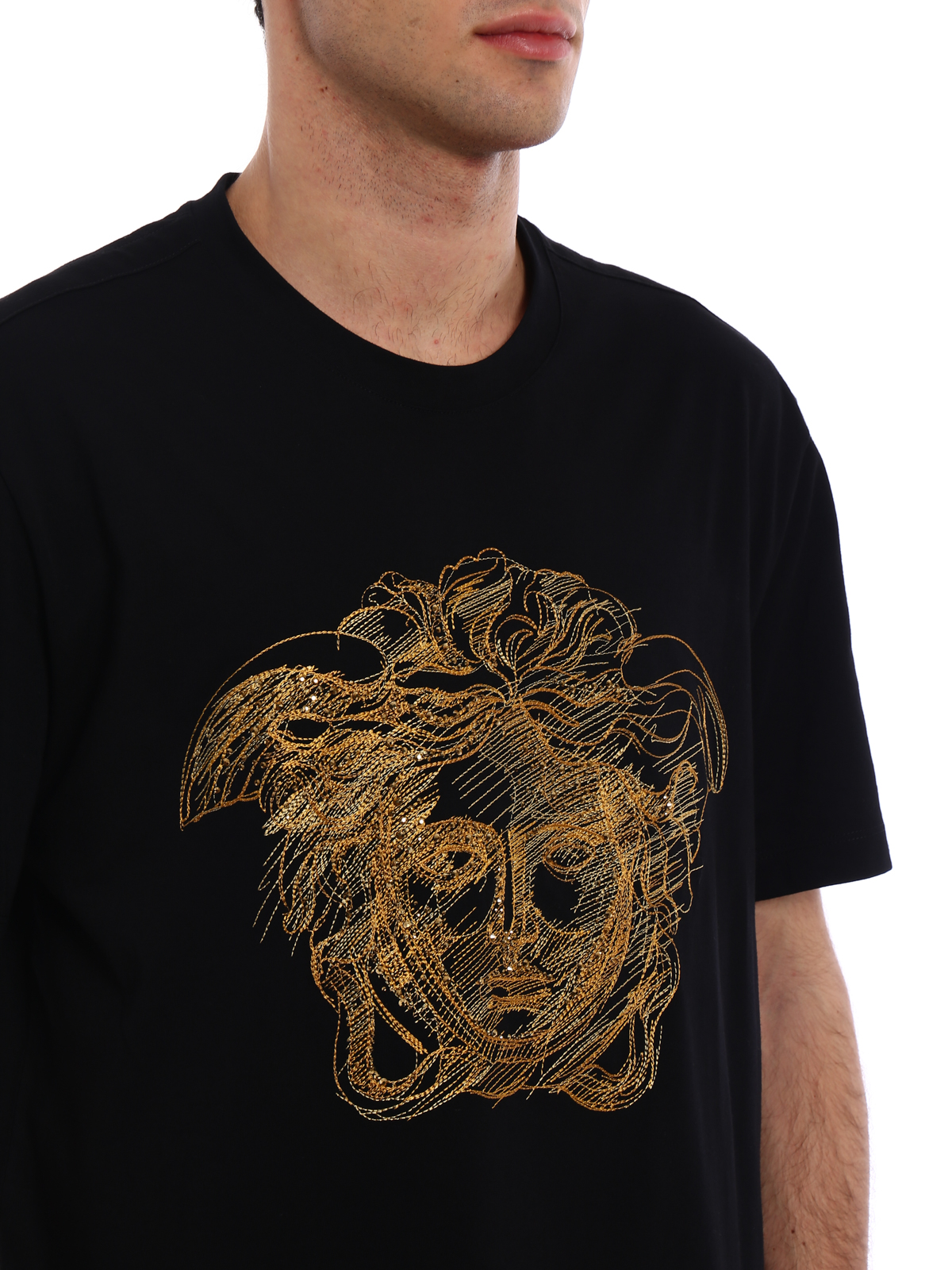 3db2941a Versace - Gold Medusa embroidered T-shirt - t-shirts - A77263A222614A92Y