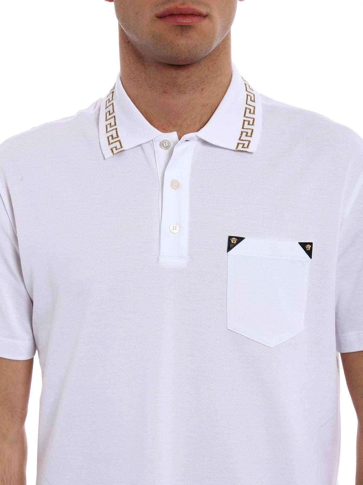 645c6436 Versace - Gold Medusa embroidered white polo - polo shirts ...
