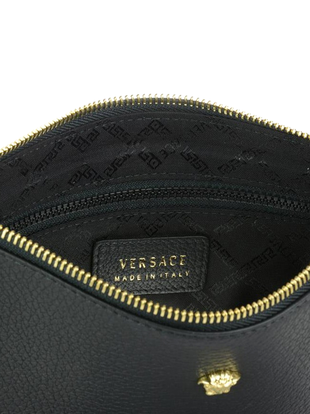 Versace - Leather clutch with small Medusa - clutches - DP84725 ... 1c82c980fcad0