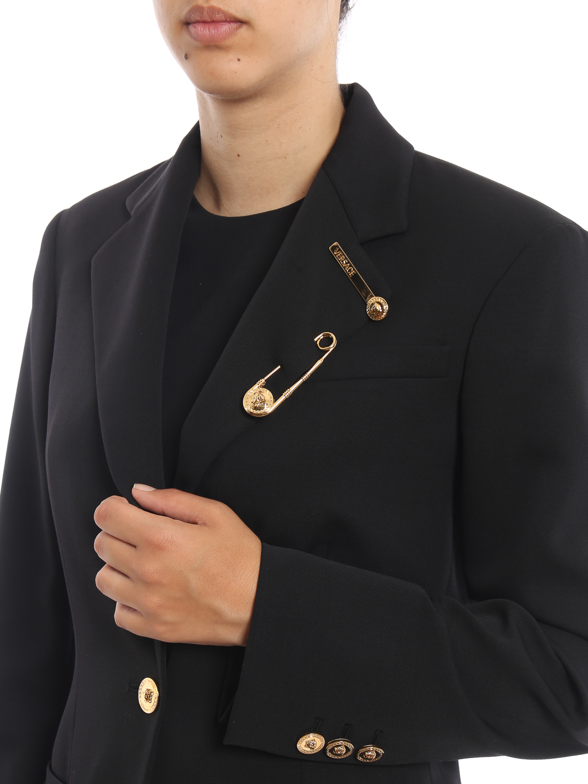 b9d85462e5 Versace - Medusa button and safety pin long blazer - Tailored ...