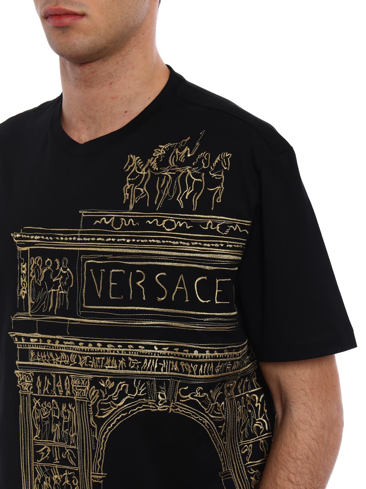 Versace buy online pencil sketch embroidered black tee