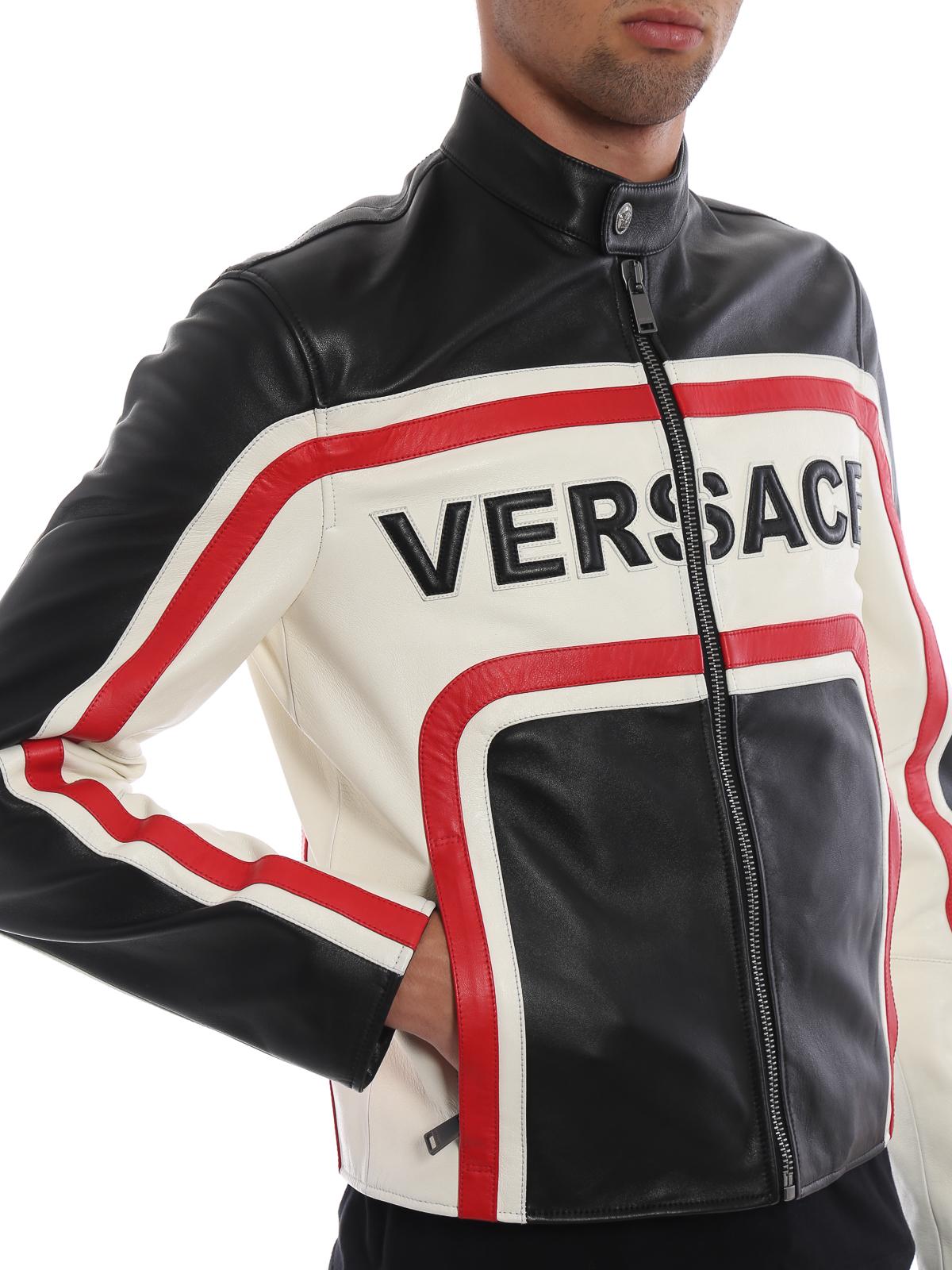 e8aaf7d6 Versace - Tri-colour nappa leather biker jacket - leather jacket ...
