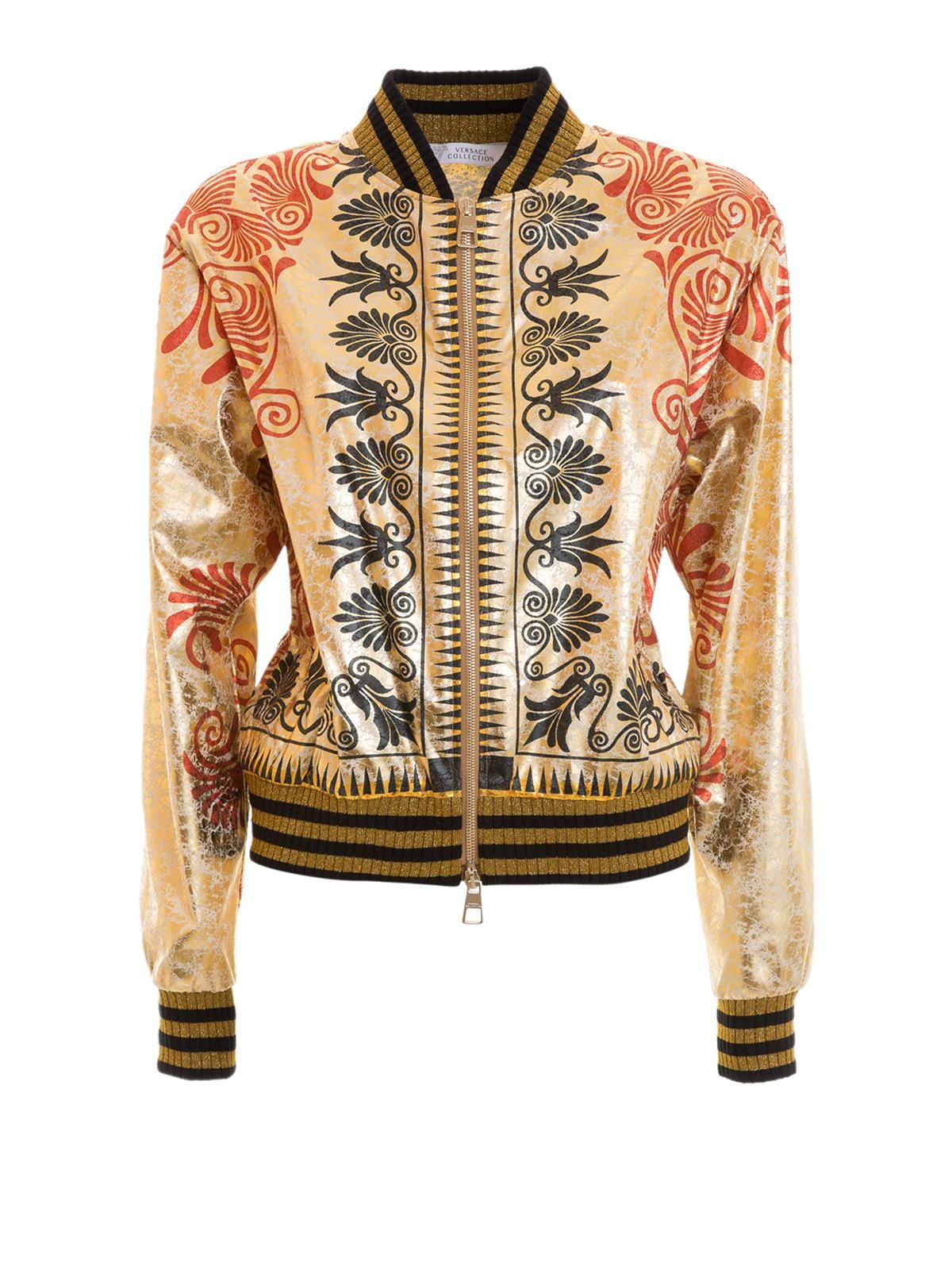 Versace Collection Baroque Metal Bomber Jacket Bombers