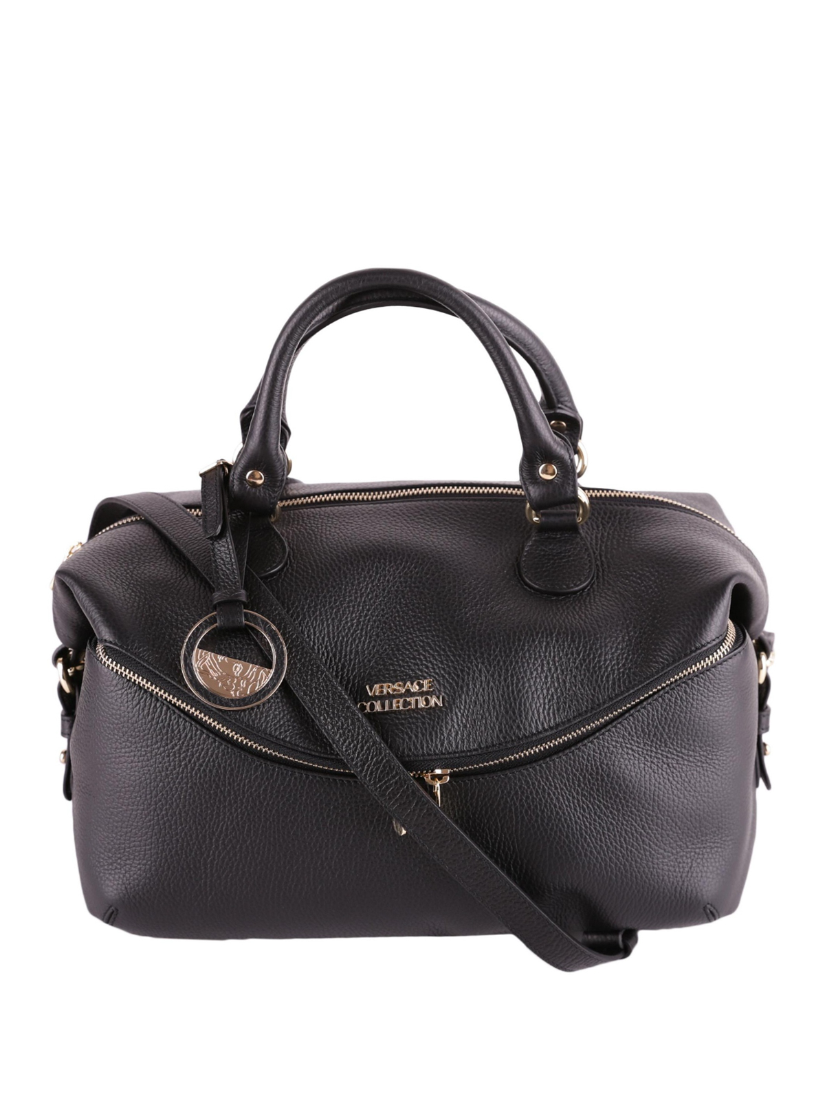 07cf3ddf5960 Versace Collection - Logo detailed hammered leather bag - bowling ...