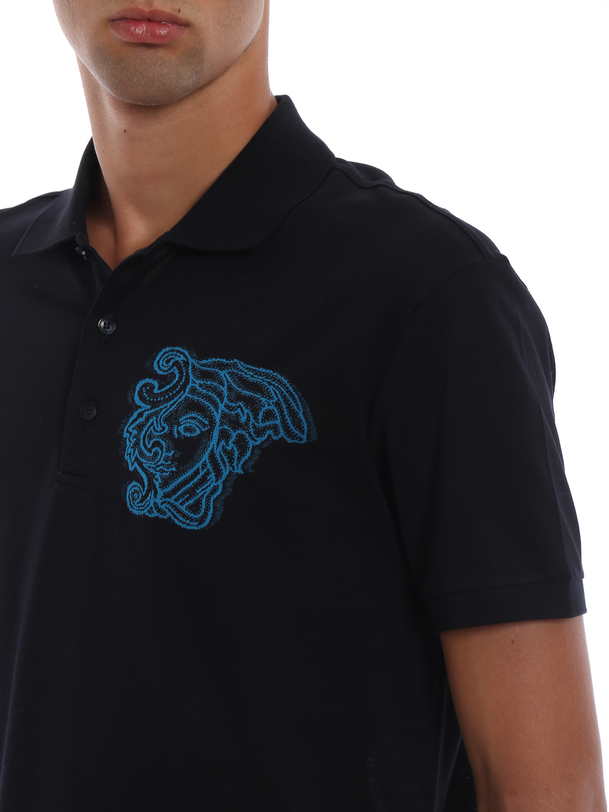 9a2789053 VERSACE COLLECTION buy online Embroidered Medusa cotton pique polo shirt