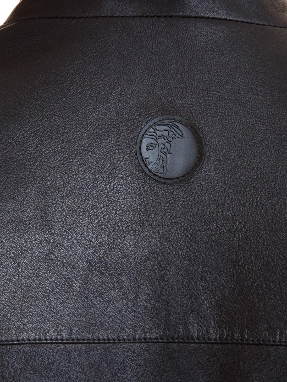6ec9570d12be2 Versace Collection - Manteau En Cuir Noir Pour Homme - Vestes en ...