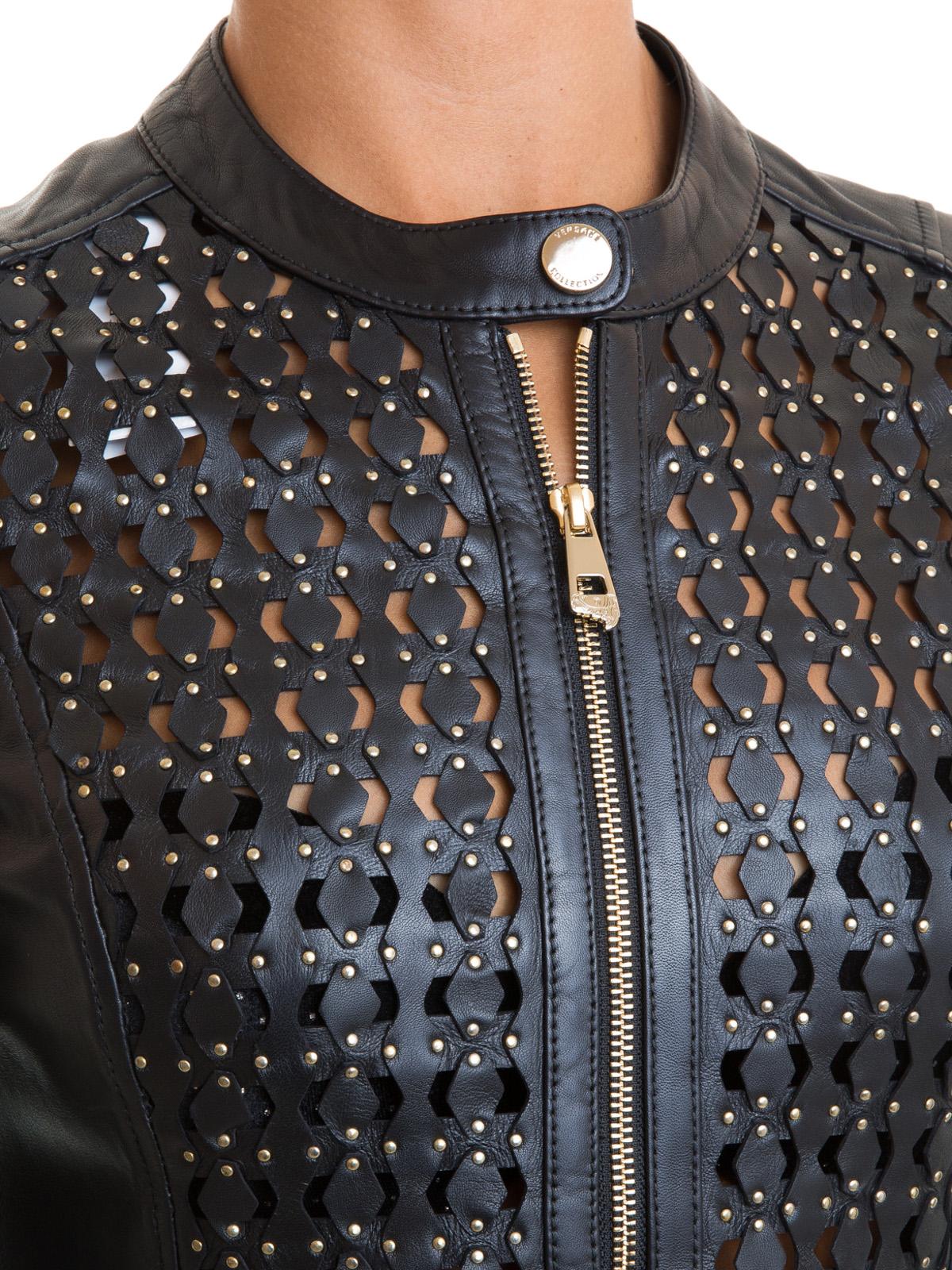 20443ae6144 Versace Collection - Blouson En Cuir - Noir - Vestes en cuir ...