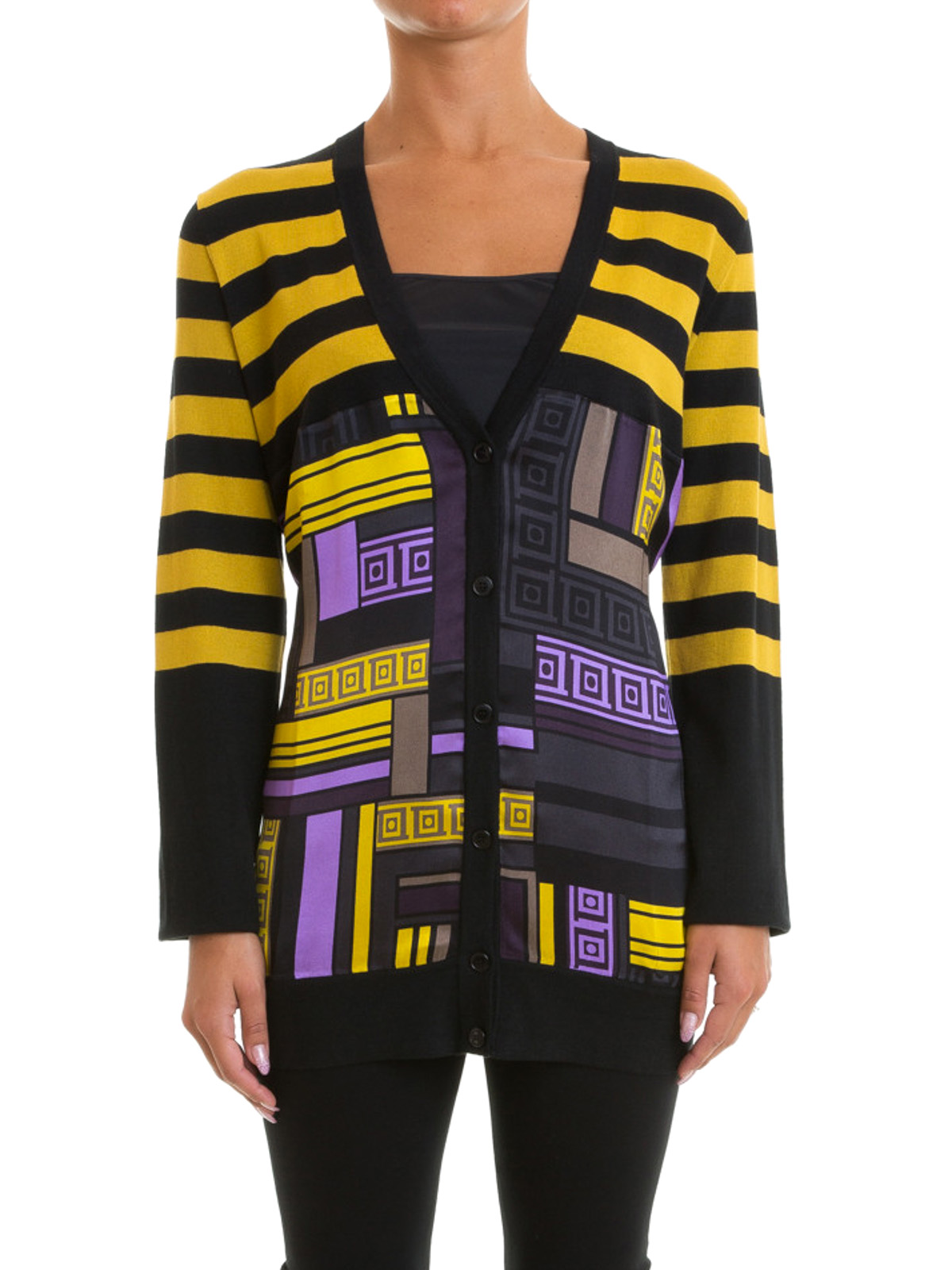 Signature printed long cardigan by Versace Collection - cardigans ...