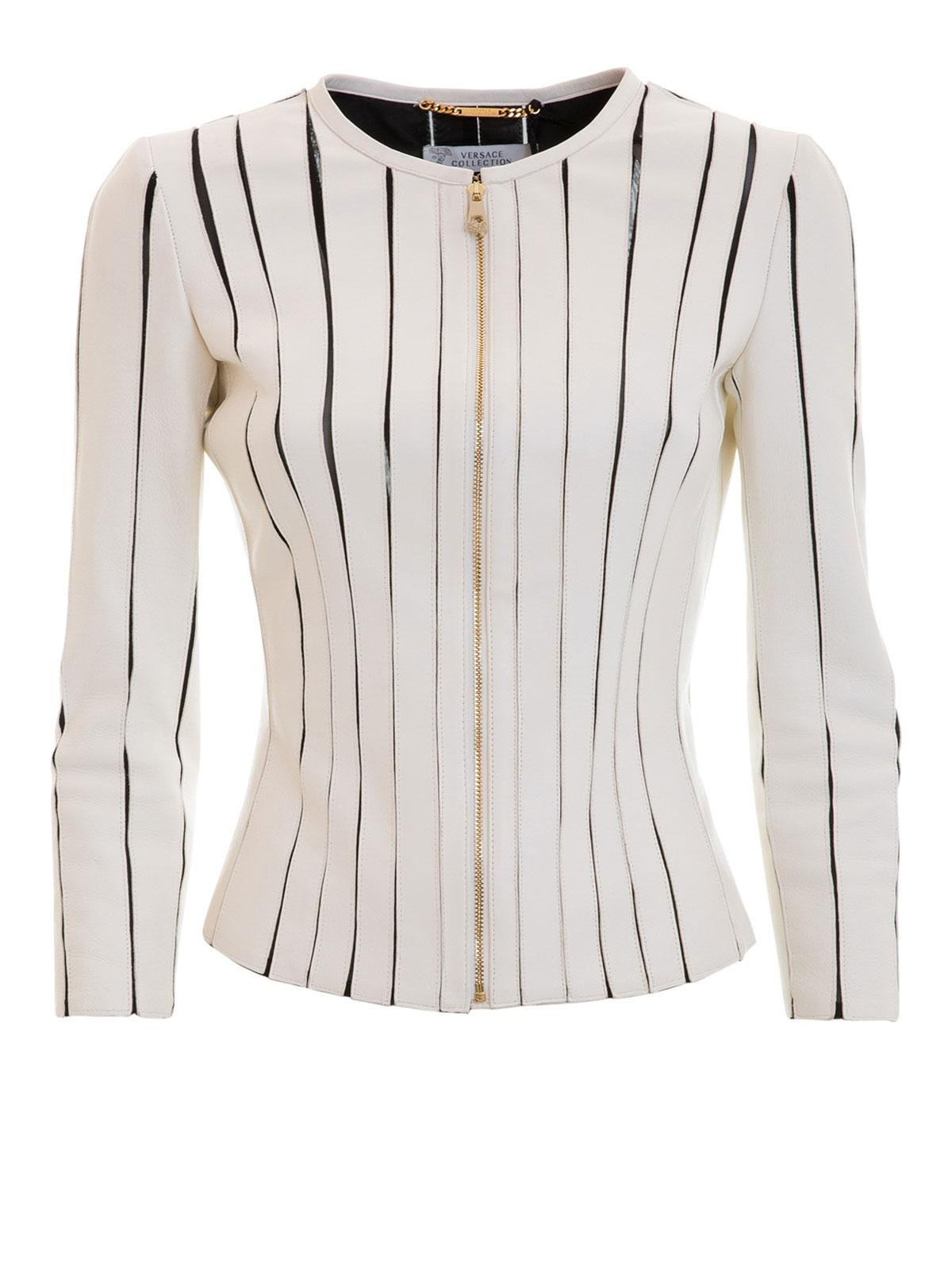 Versace Collection - Manteau En Cuir Blanc Pour Femme - Vestes en ... 5fcc42c3820