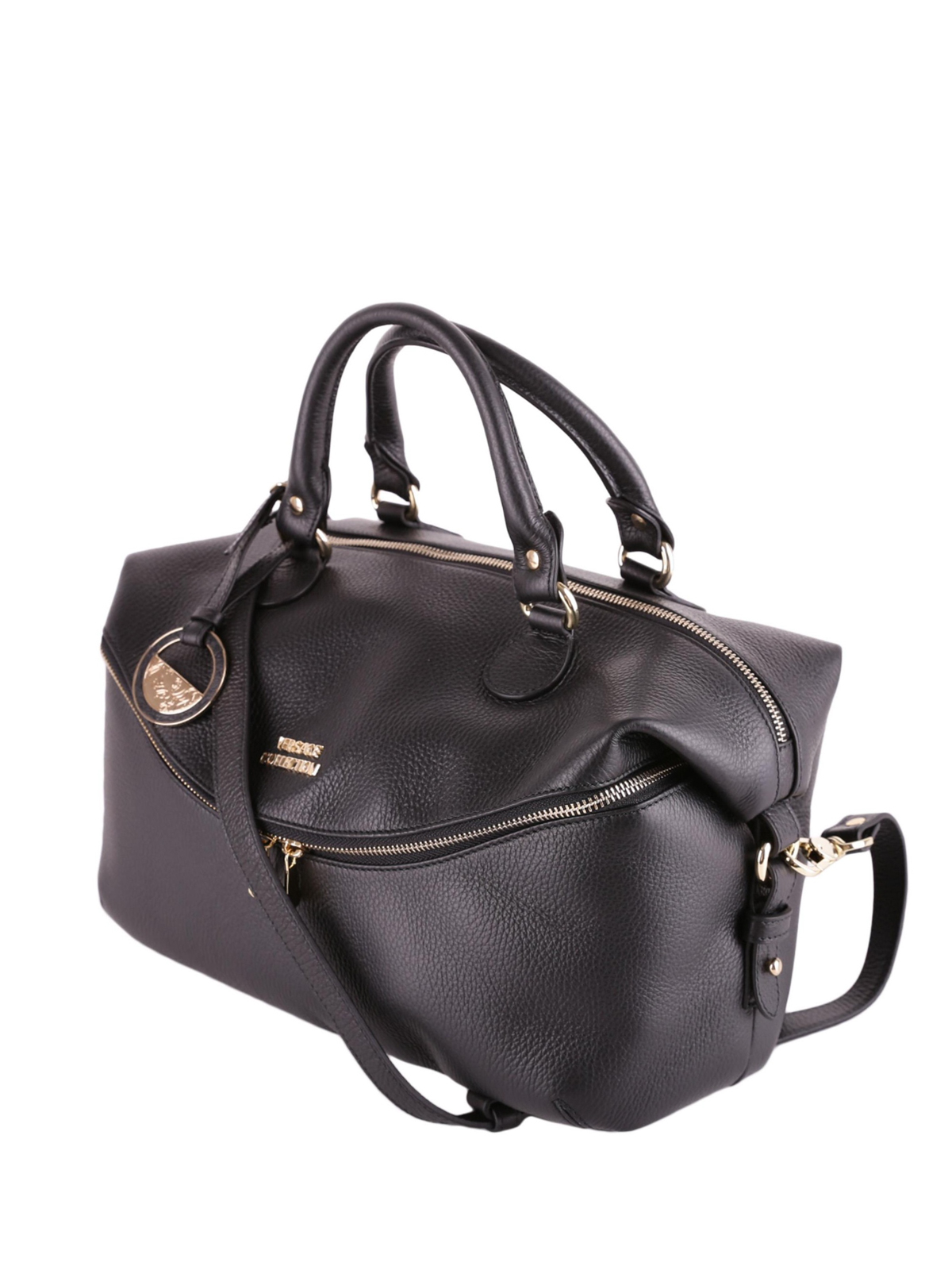 70e689db5334 VERSACE COLLECTION  bowling bags online - Logo detailed hammered leather bag