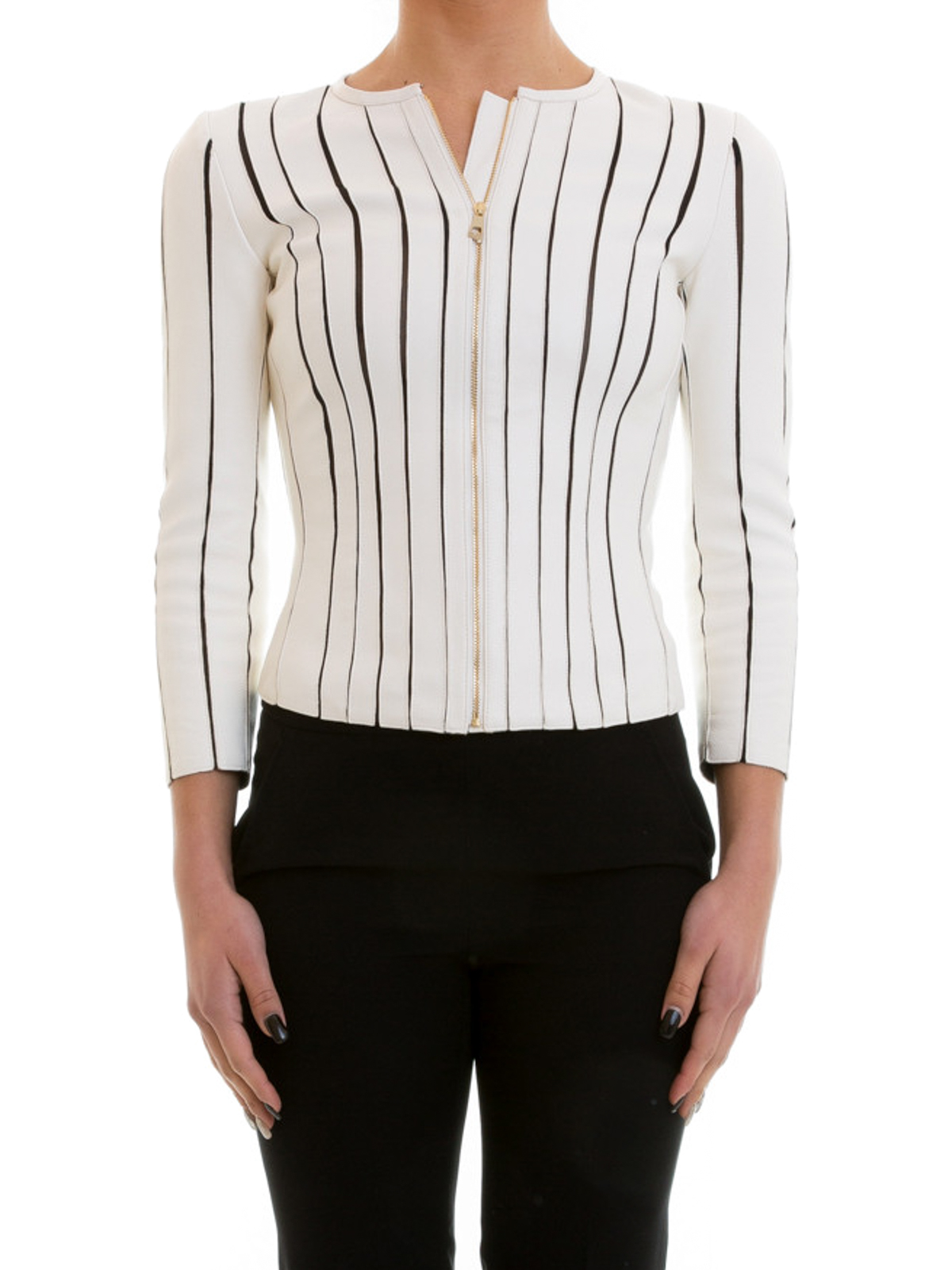 VERSACE COLLECTION  Vestes en cuir online - Manteau En Cuir Blanc Pour Femme b2769278595