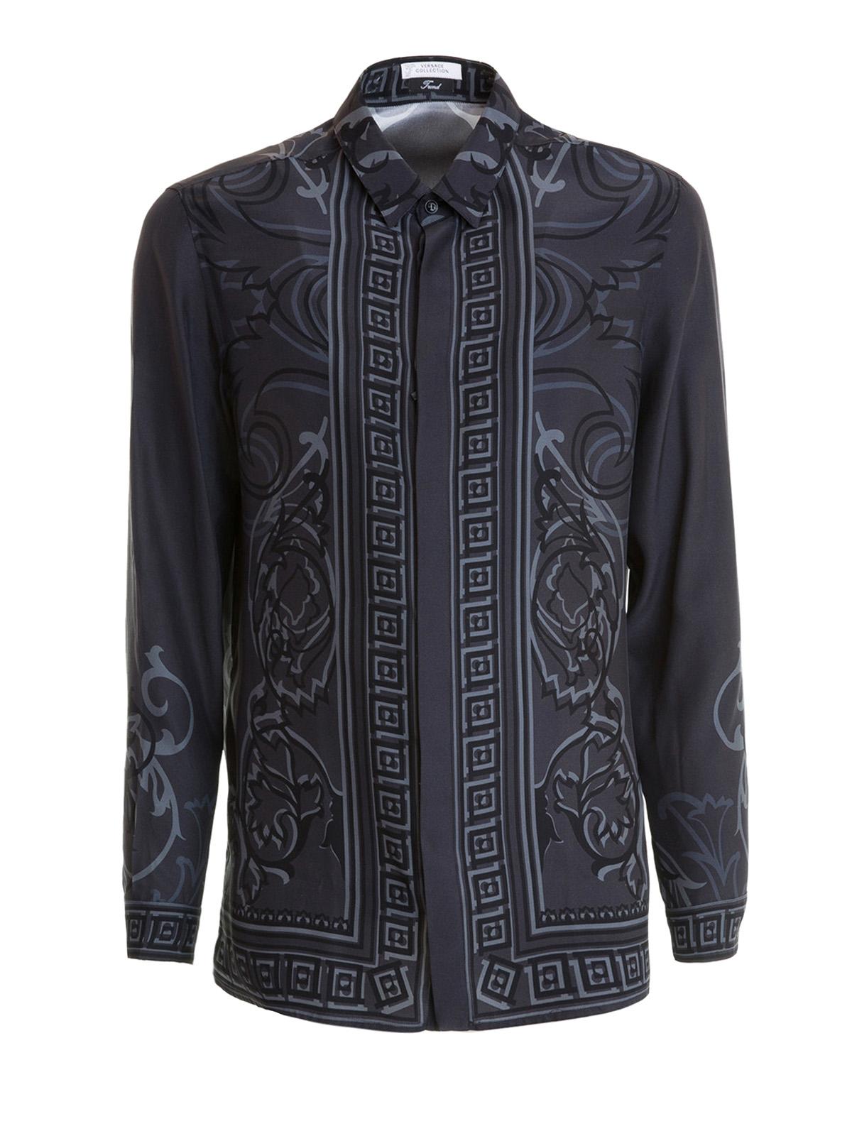 Versace Collection - Baroque Greek print silk shirt ...
