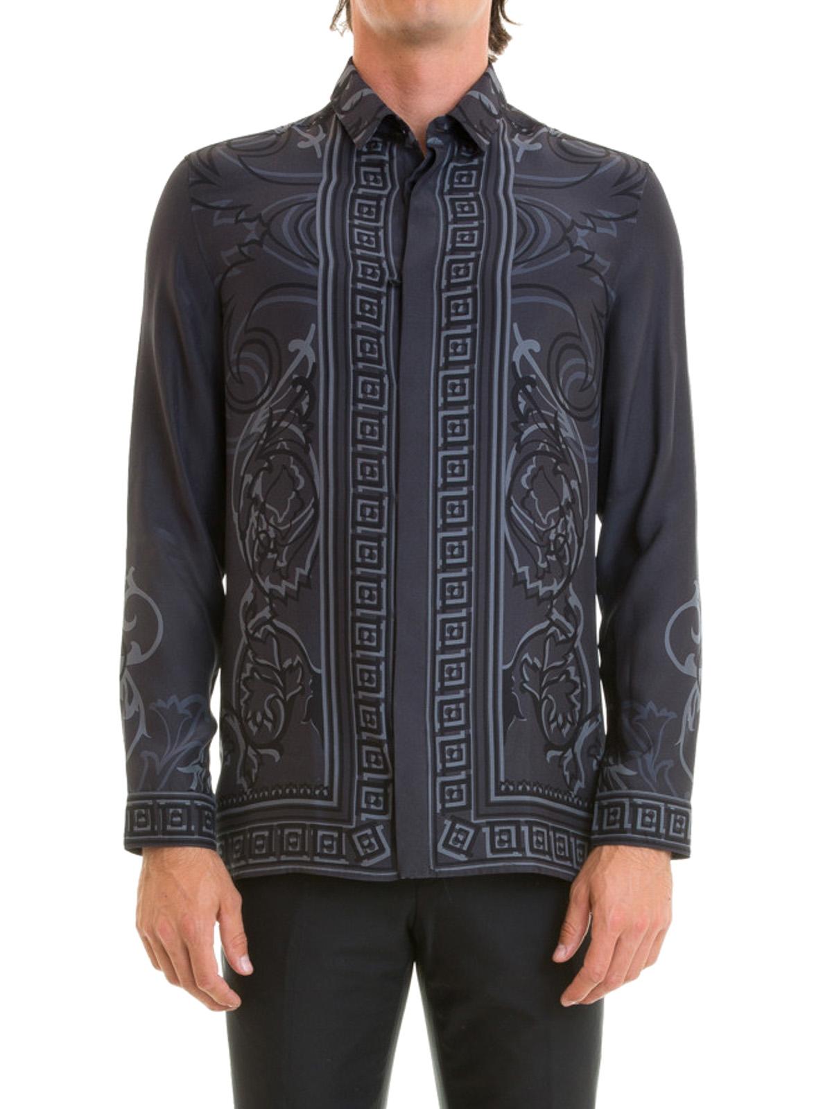 Baroque Greek print silk shirt by Versace Collection ...