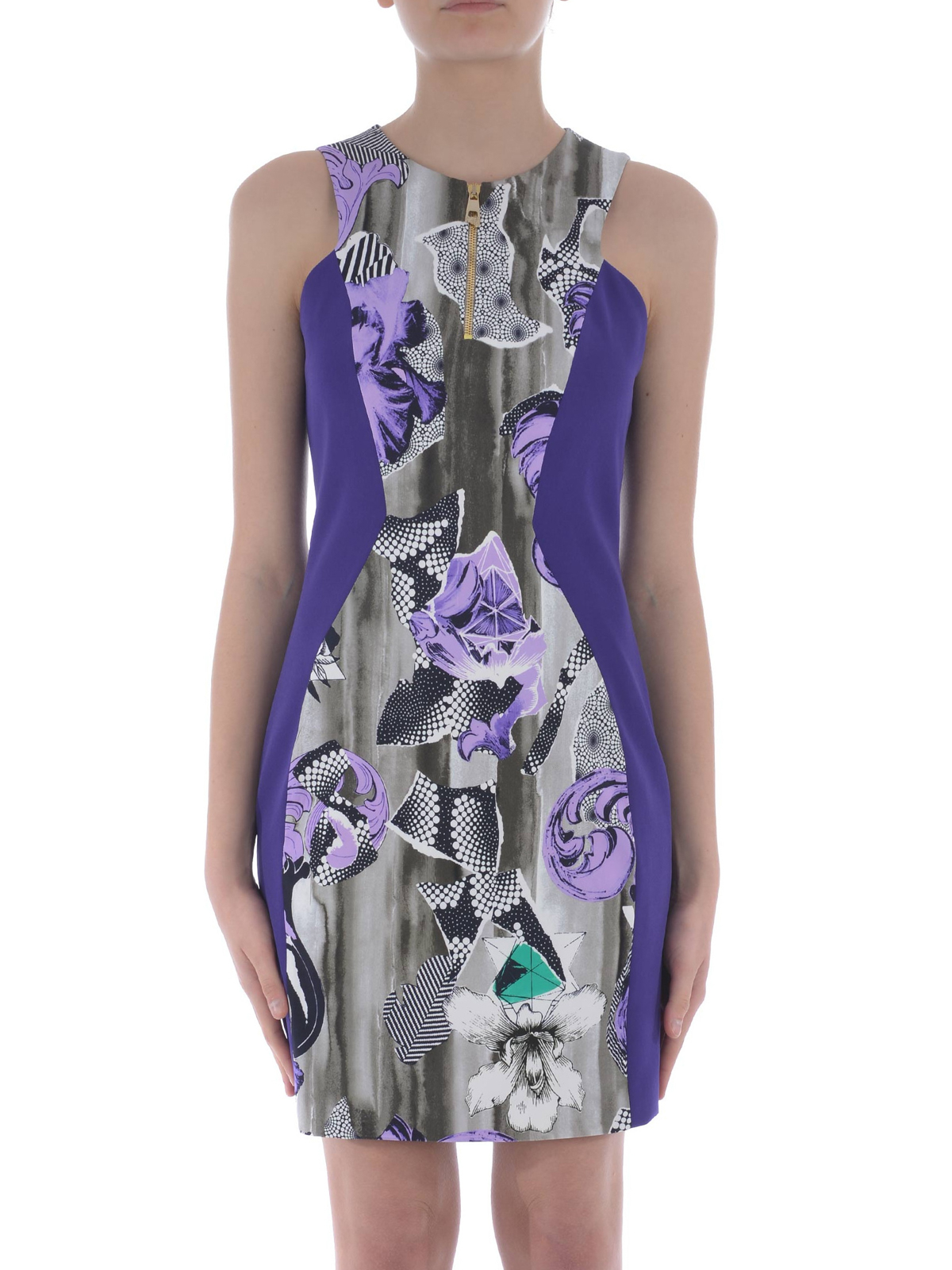 sleeveless printed sheath dress by versace collection