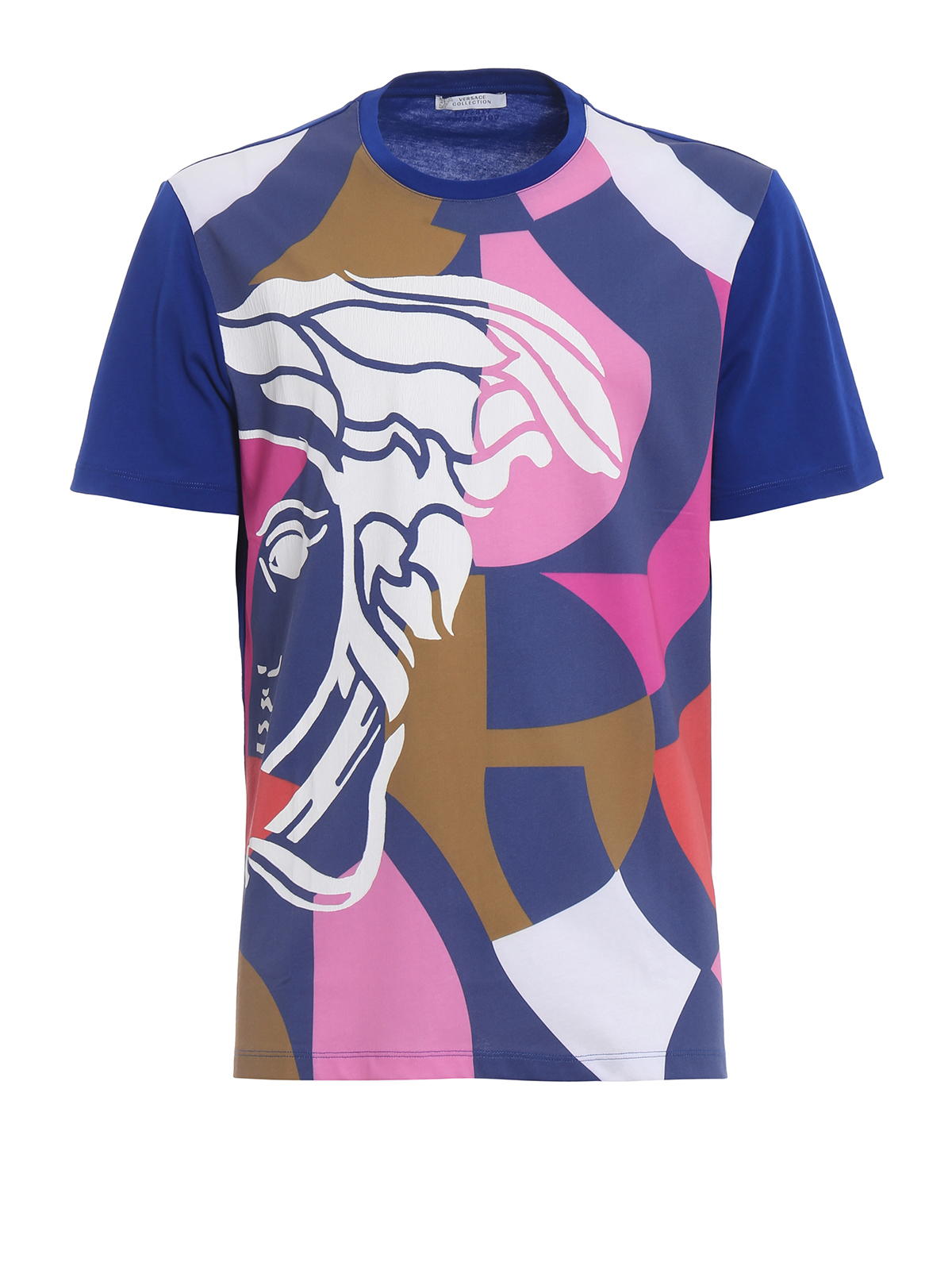 Colour block medusa printed t shirt by versace collection for Colour t shirt printing