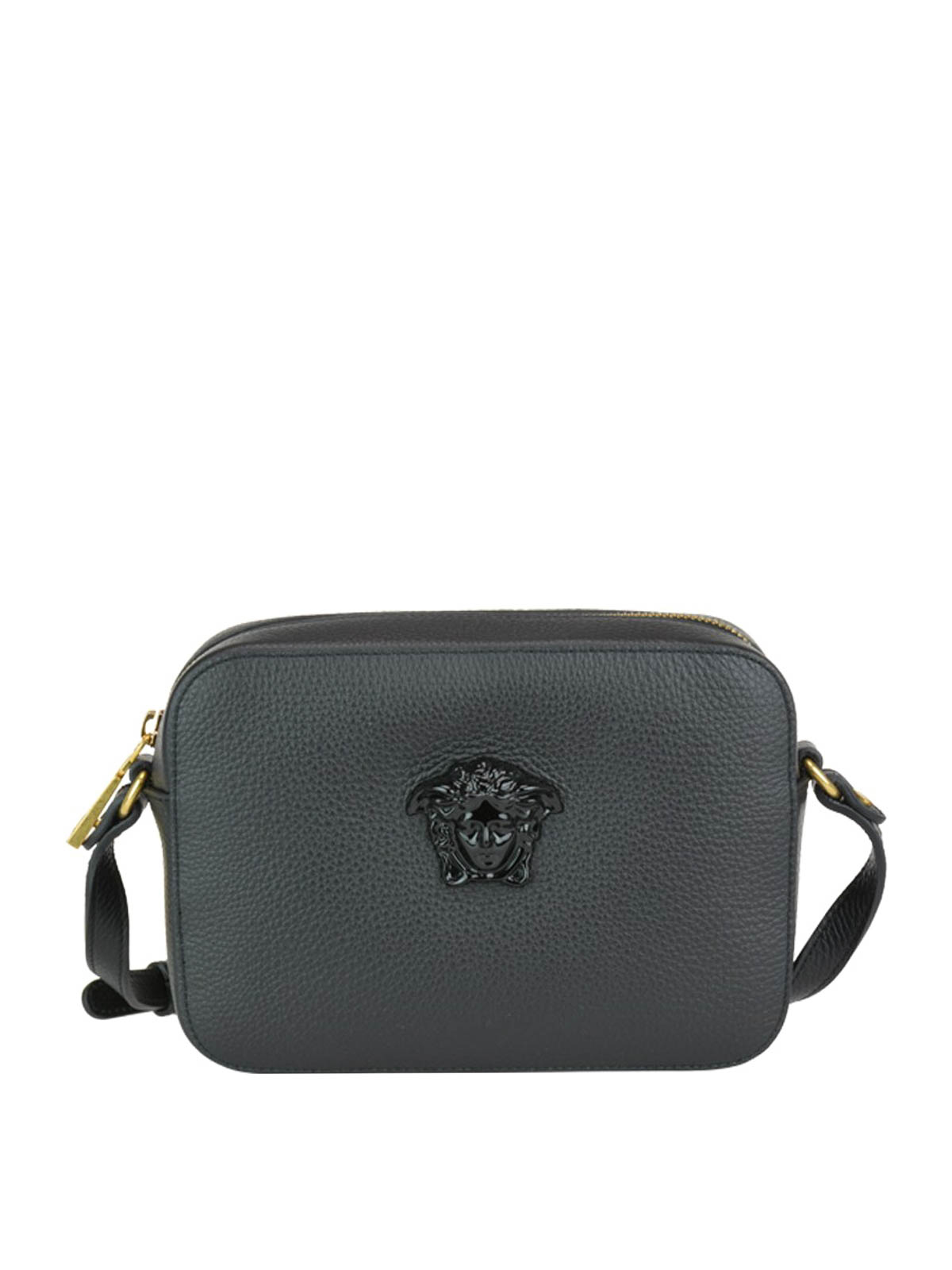 86fefc84e8 VERSACE: cross body bags - Palazzo black grained leather cross body bag