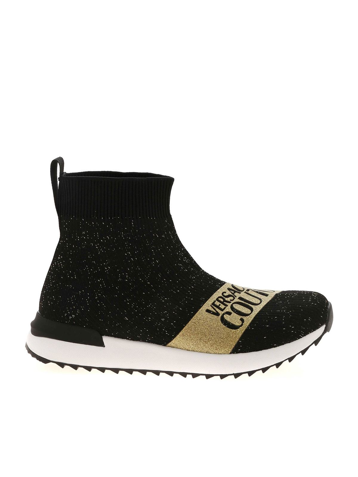 Versace Jeans Couture GLITTER FABRIC ANKLE BOOTS IN BLACK