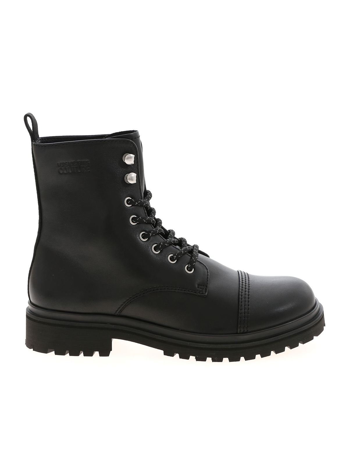 Versace Jeans Couture LOGO BAND COMBAT BOOTS IN BLACK