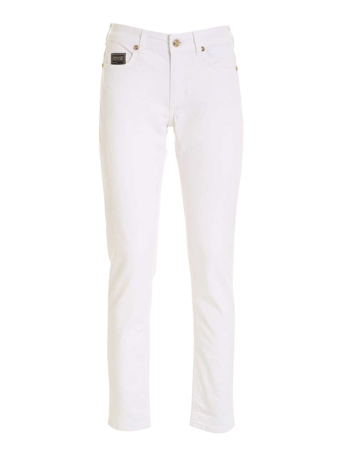 Versace Jeans Couture LOGO PATCH PANTS IN WHITE