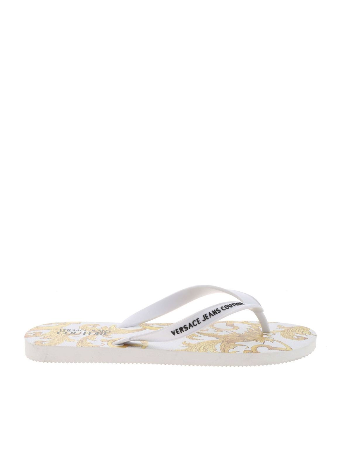 Versace Jeans Couture Slippers BAROQUE PRINT SLIPPERS IN WHITE