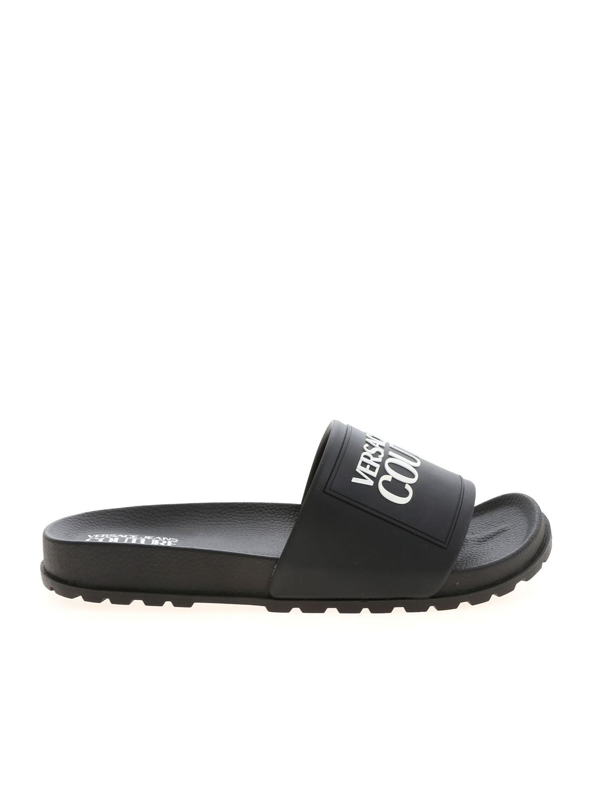 Versace Jeans Couture LOGO LETTERING SLIDERS IN BLACK