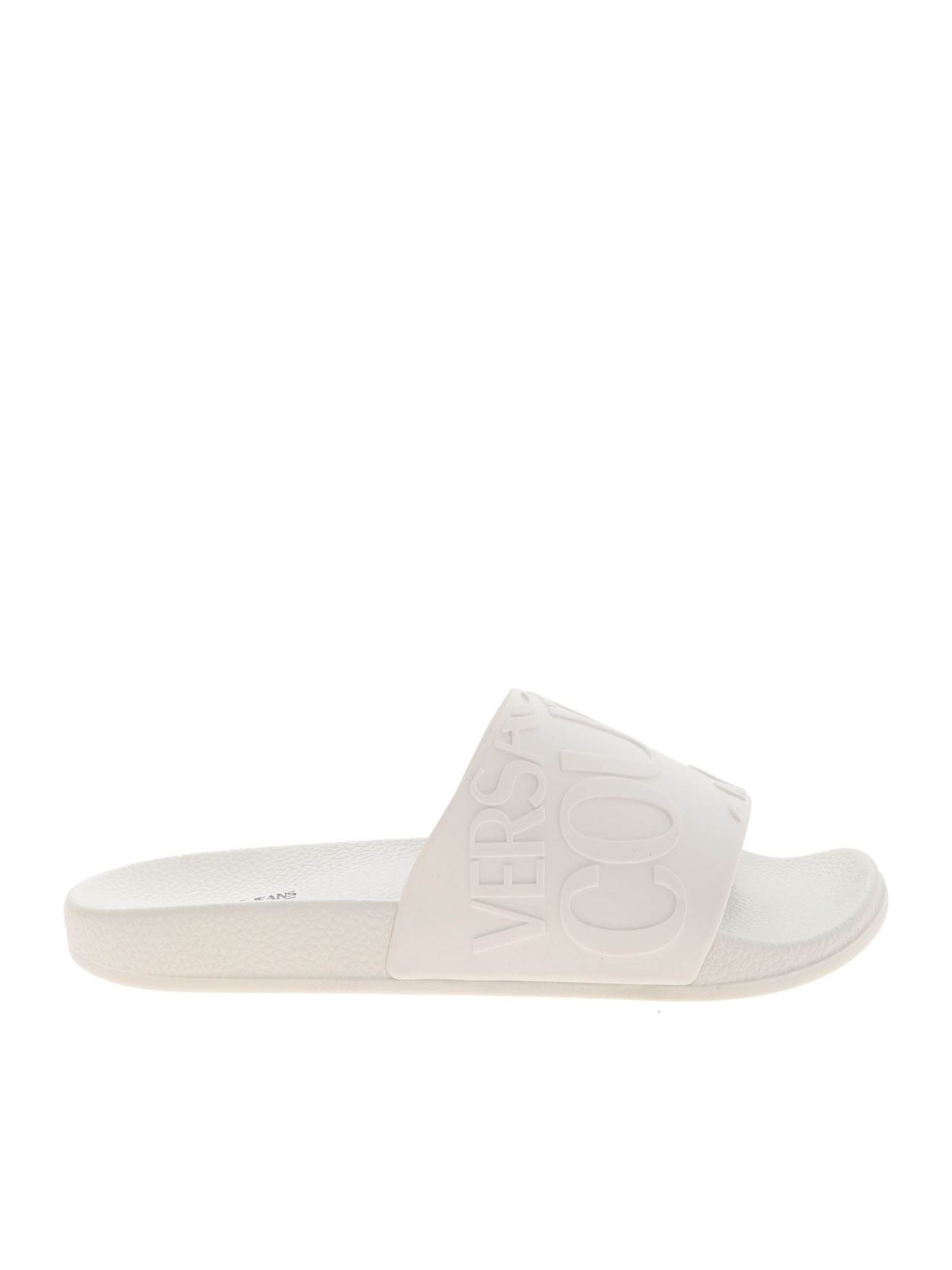 Versace Jeans Couture LOGO SLIPPER IN WHITE