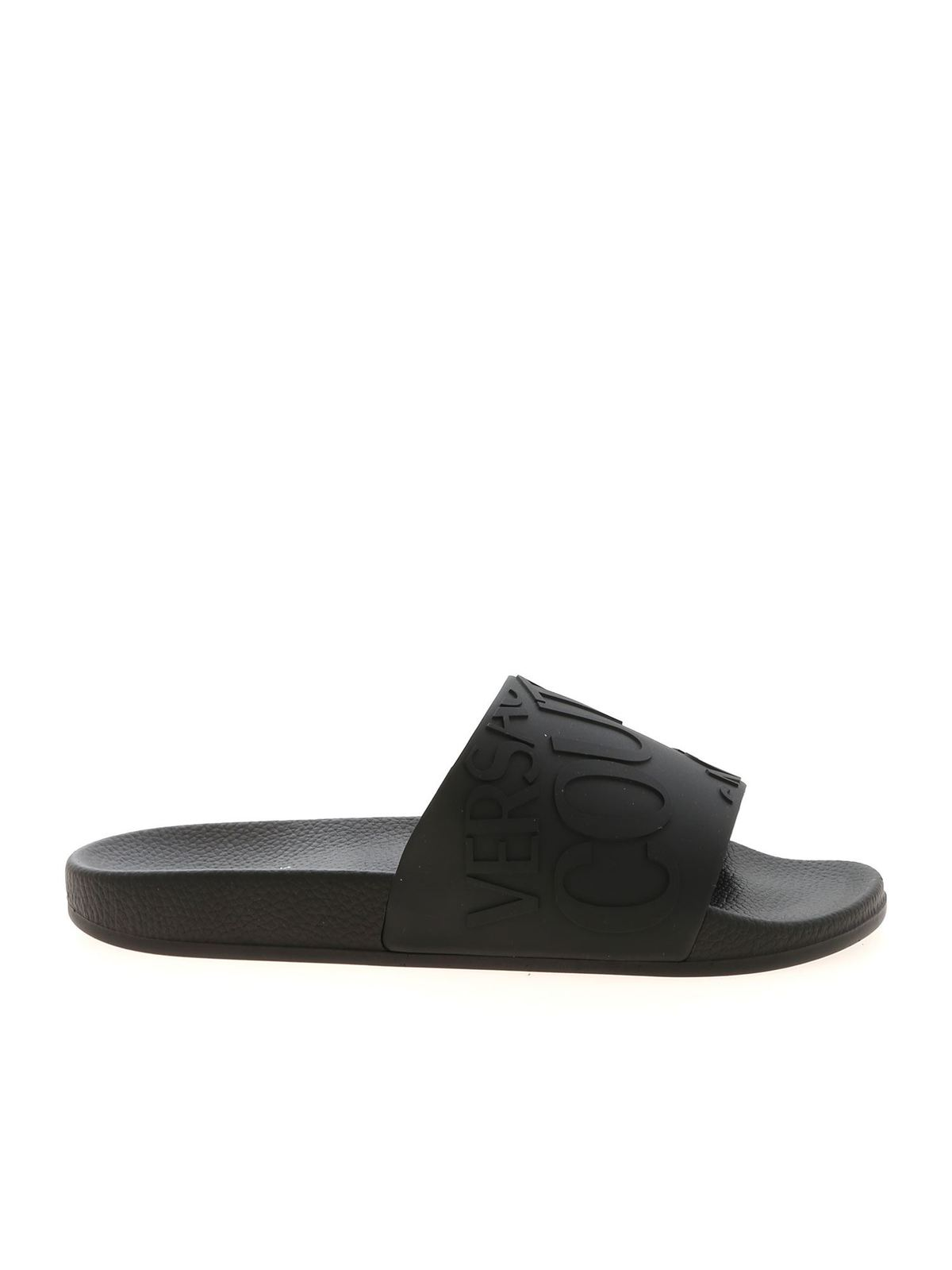 Versace Jeans Couture LOGO SLIPPERS IN BLACK