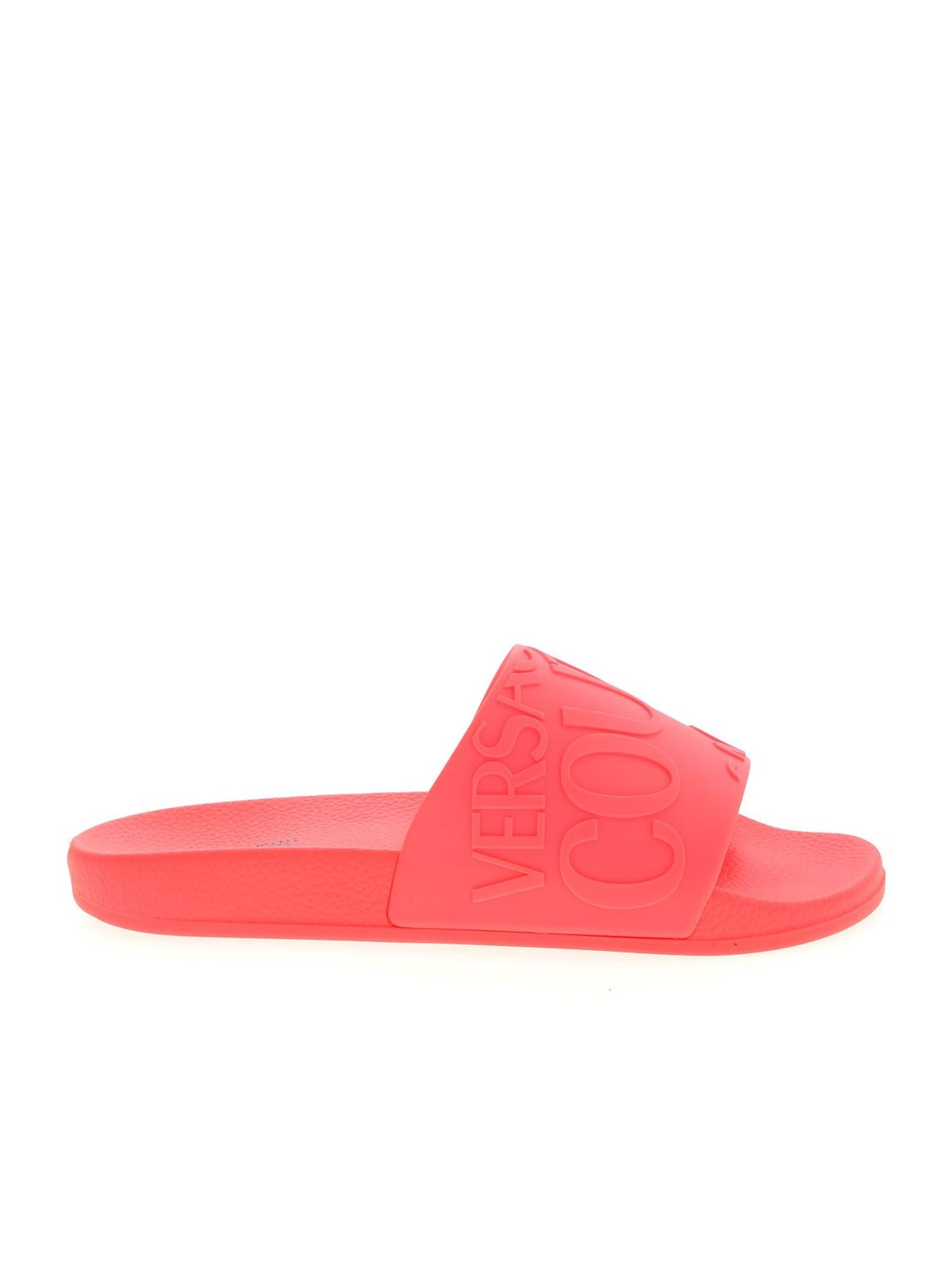Versace Jeans Couture LOGO SLIPPERS IN CORAL RED