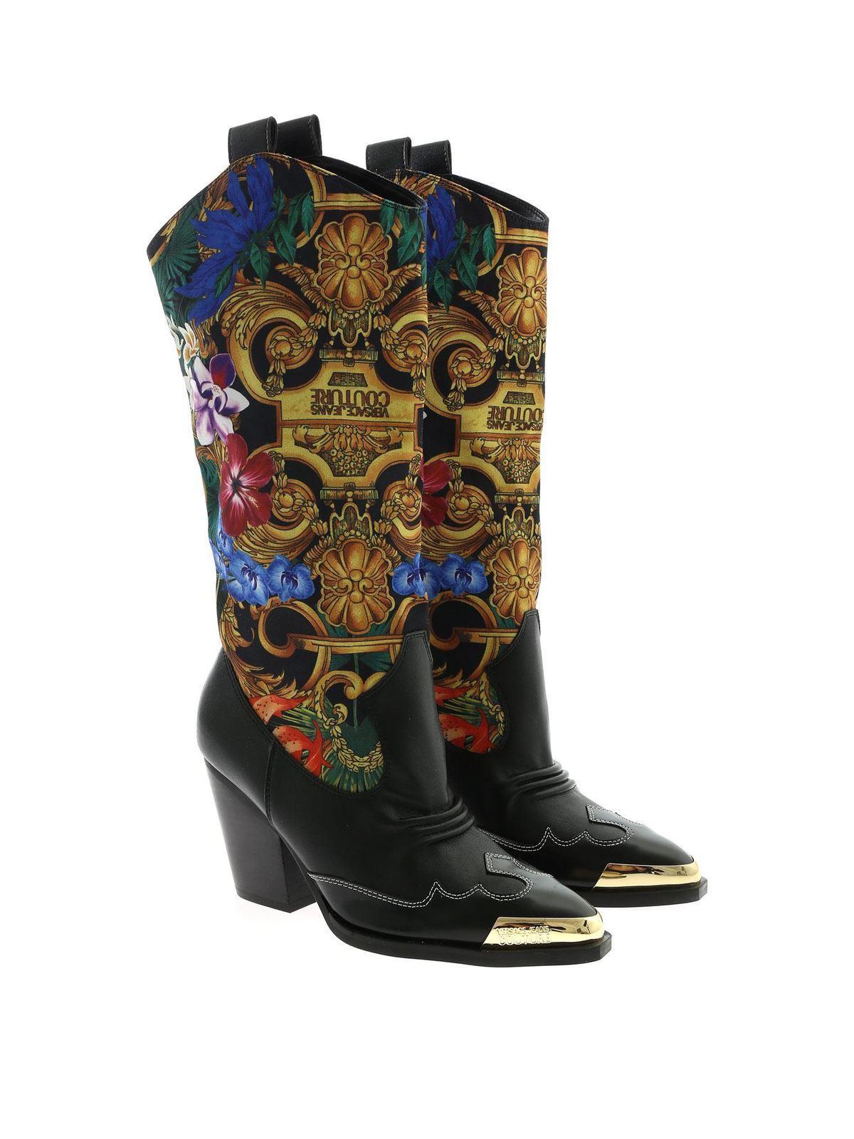 Versace Jeans Couture Stivali neri con stampa Tropical
